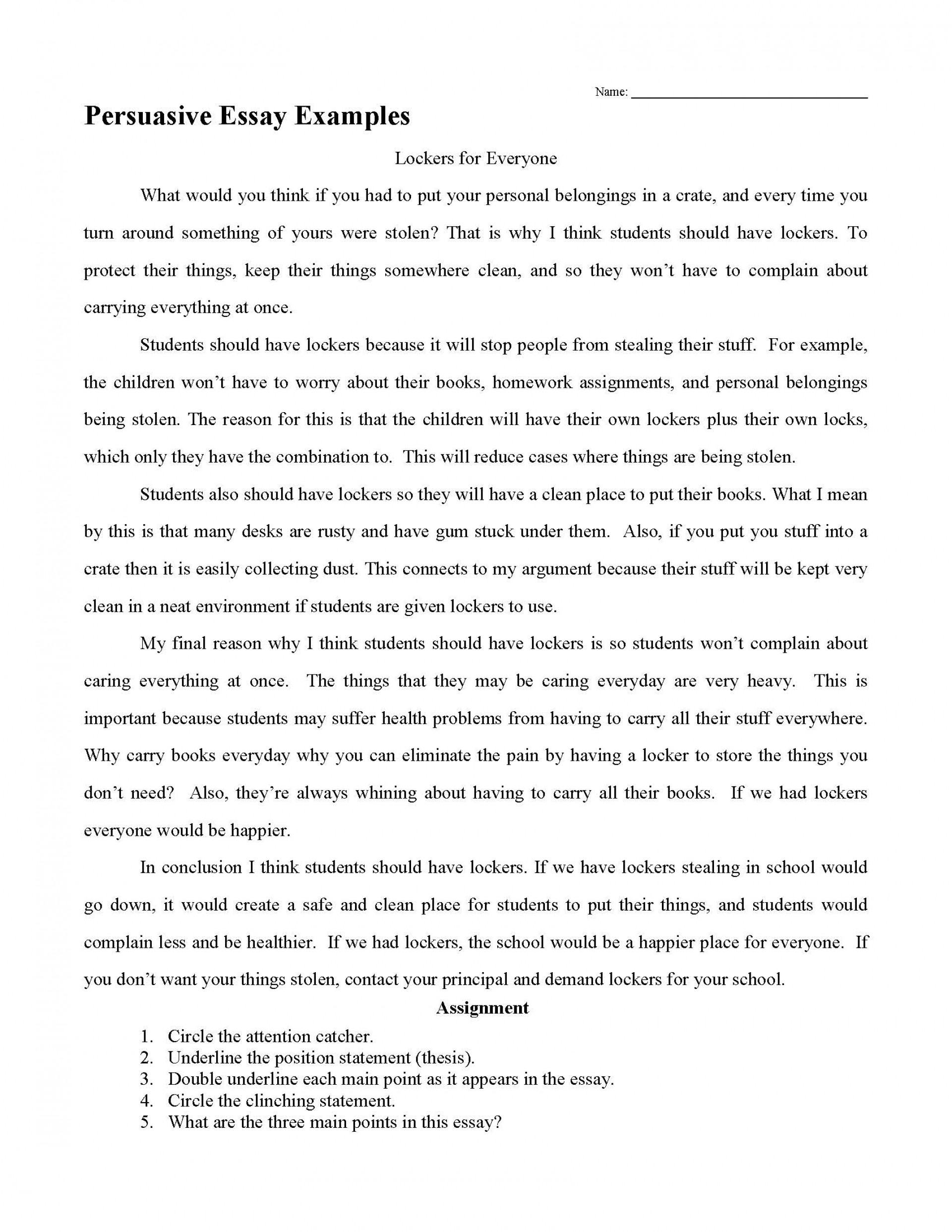 003 Essay Example Persuasive Examples Impressive Sample High School Samples Grade 6 5th 1920