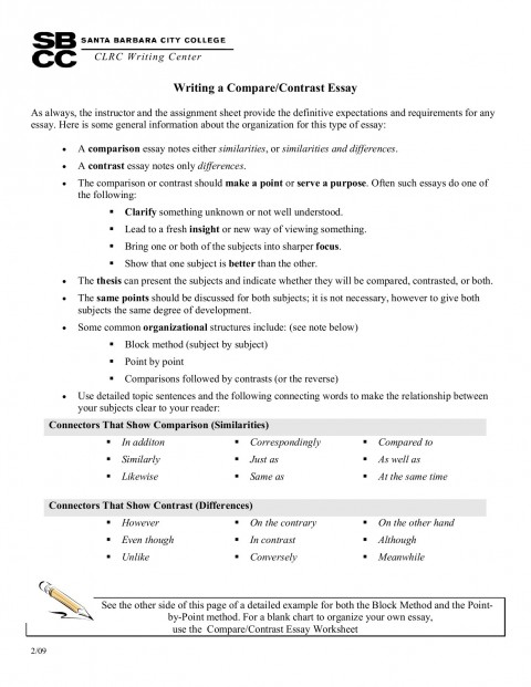 003 Essay Example Point Wonderful By Compare And Contrast Outline 480