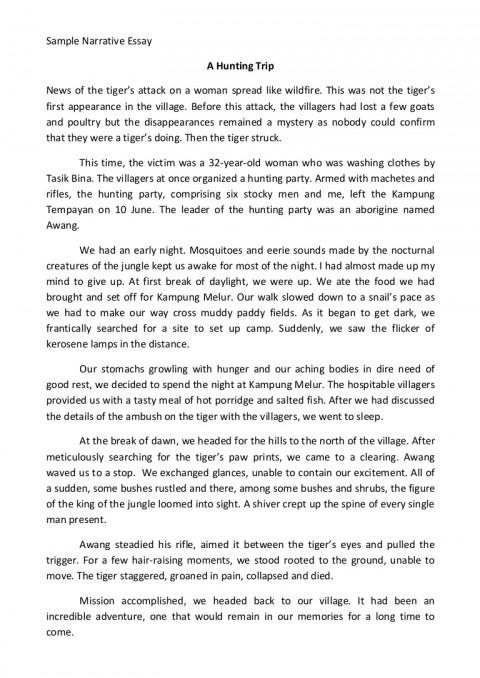 003 Essay Example Sample Narrative Samplenarrativeessay Phpapp02 Thumbnail Wondrous College High School Samples Of Essays Level 480