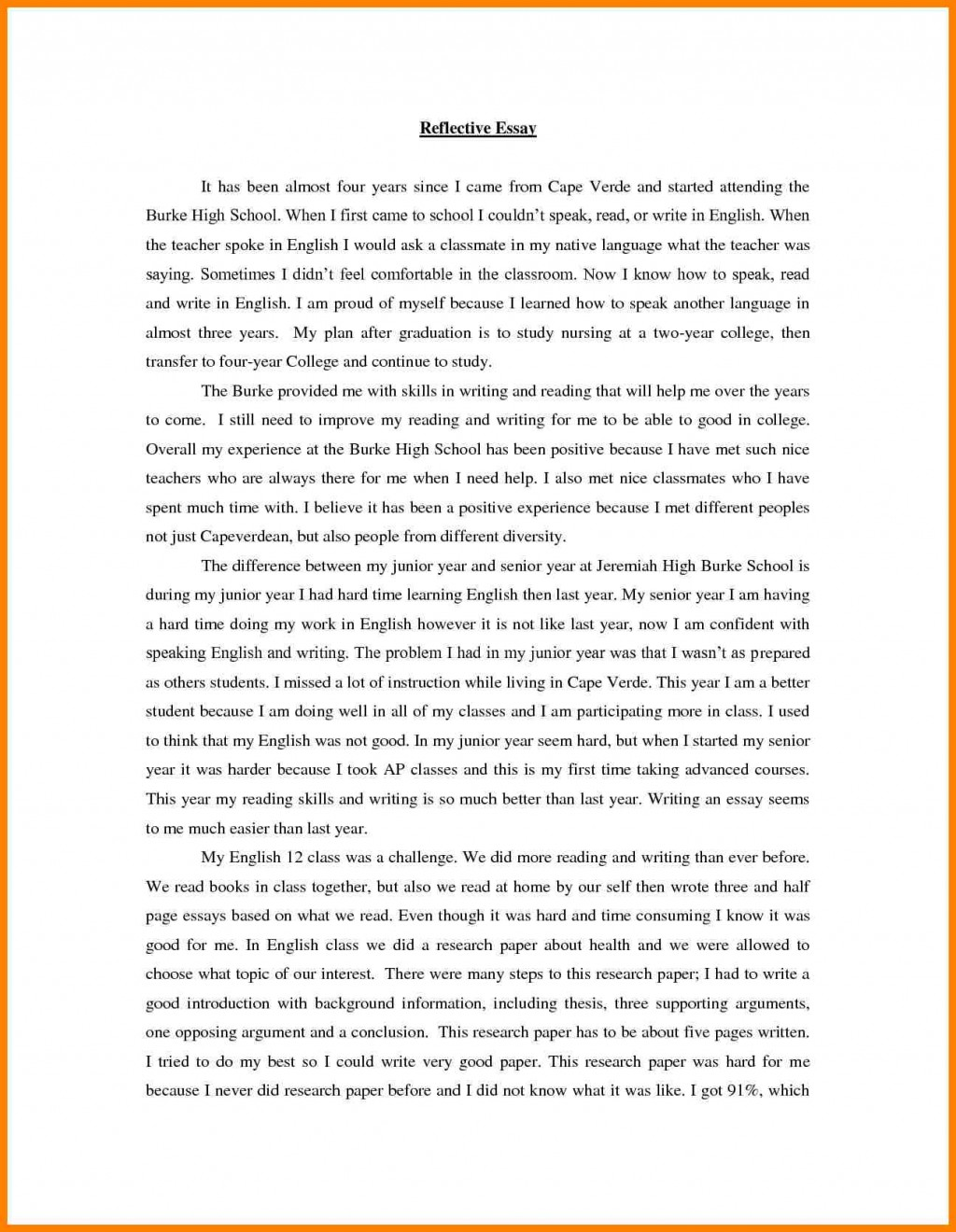 003 Essay Example Speak Brilliant Ideas Of Writing Reflection Printable Bill Lading Short Form Rf English Wonderful Conclusion Thesis Titles Large
