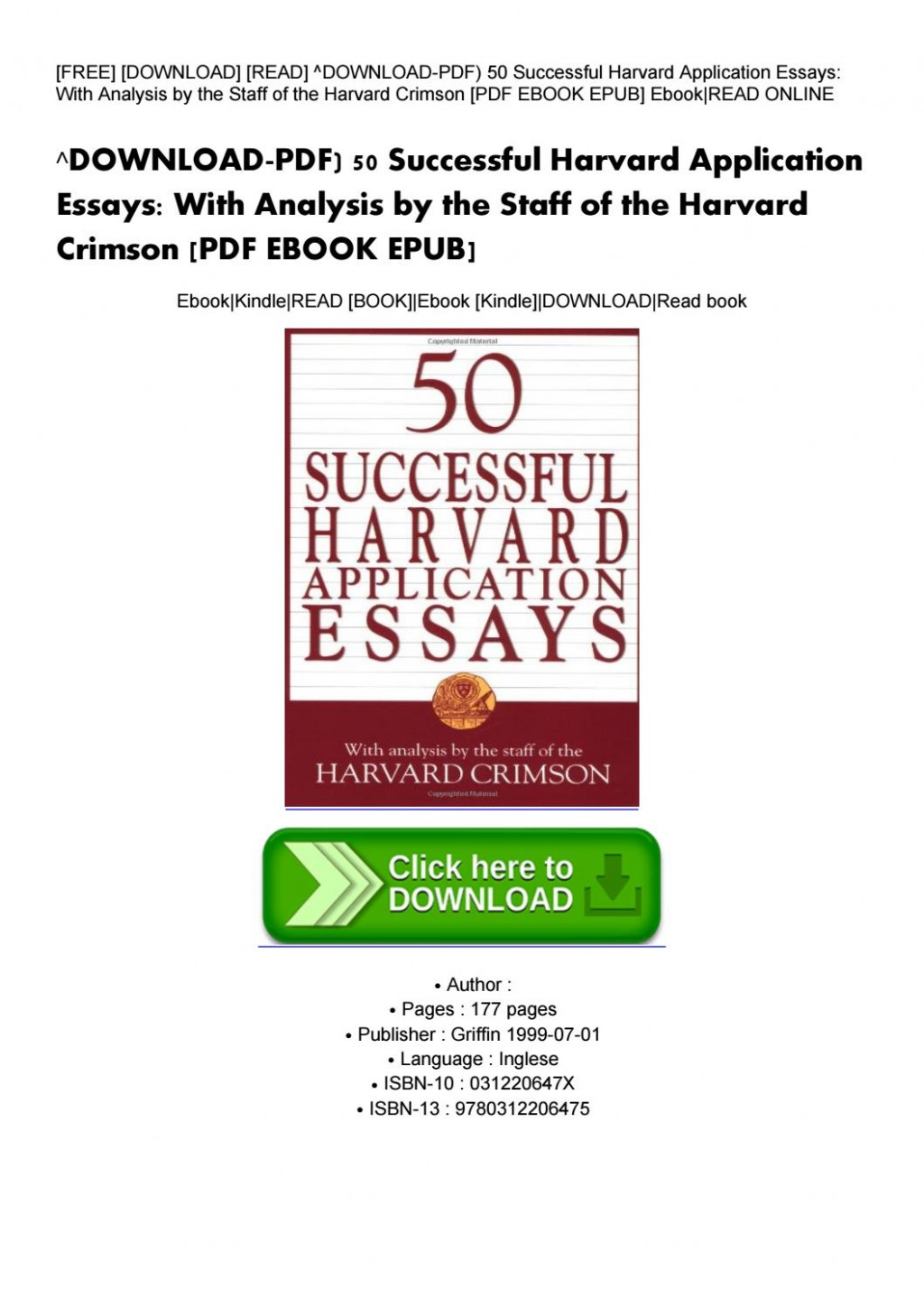 003 Essay Example Successful Harvard Application Essays Pdf Page 1 Impressive 50 Free 4th Edition Download Large