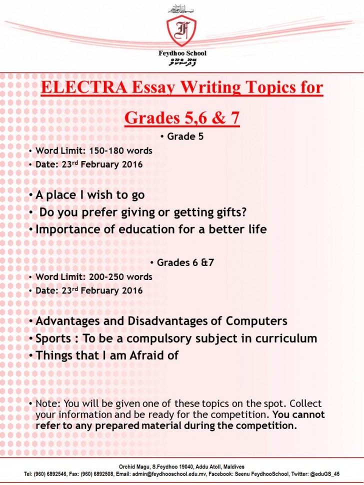 003 Essay Example Topics For Grade Marvelous 5 Informative 5th Icse Writing Students 728