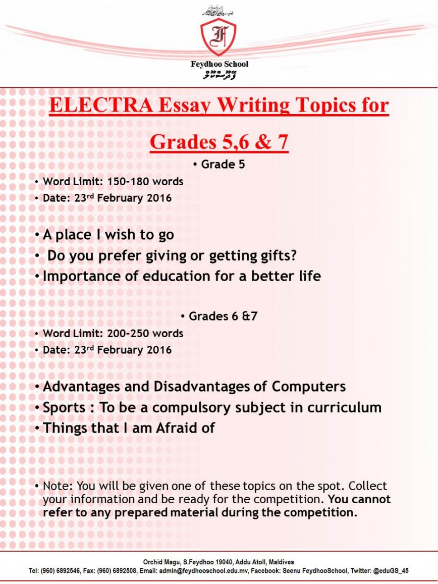 003 Essay Example Topics For Grade Marvelous 5 Informative 5th Icse Writing Students 868