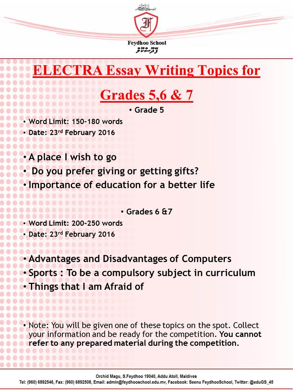 Essay Topics For Grade 6 Icse