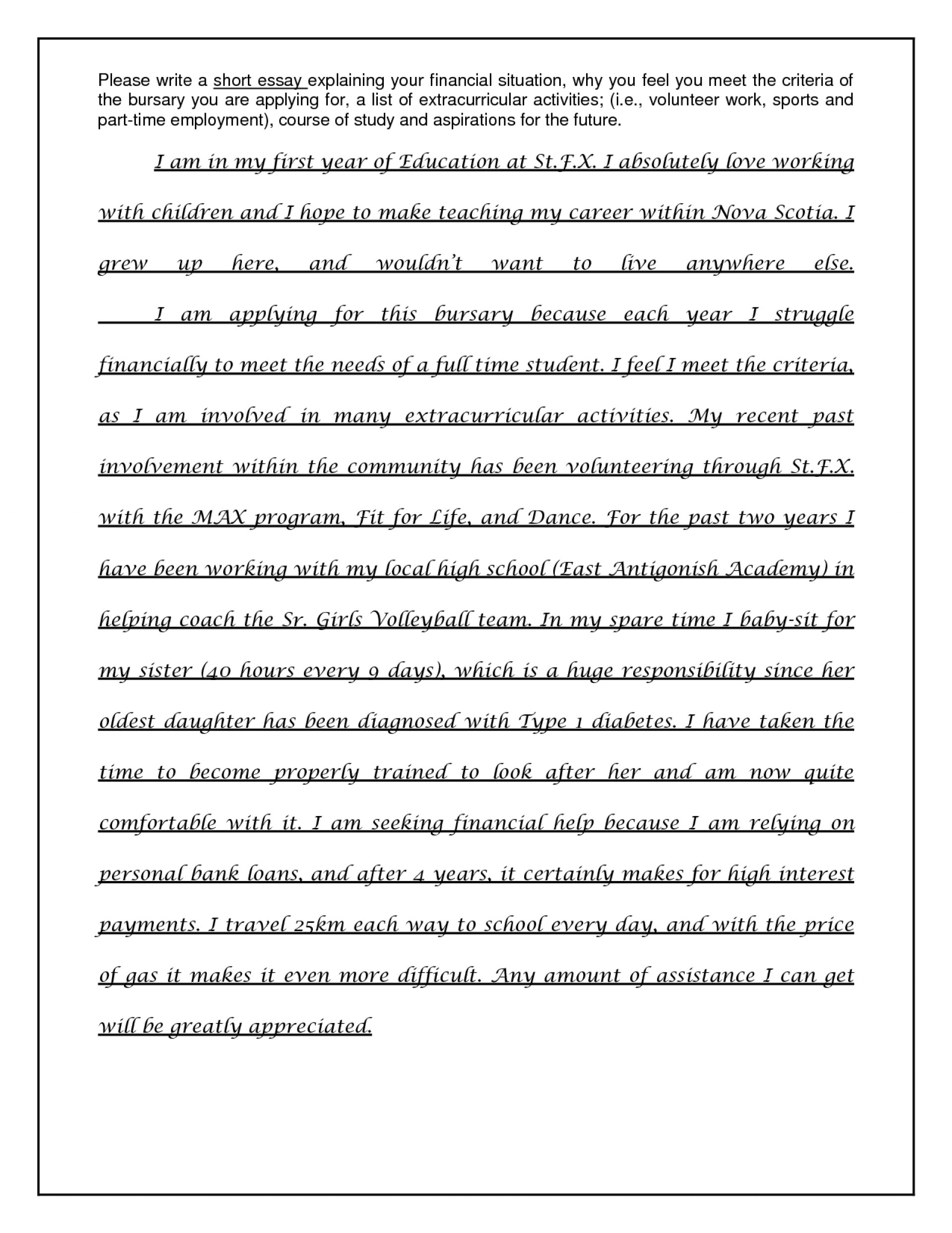 003 Essay Example Why I Need Scholarship Financial Sample Scholarships Examples For Students How Write Essa College Impressive A Should Receive Want To Be Teacher 1920