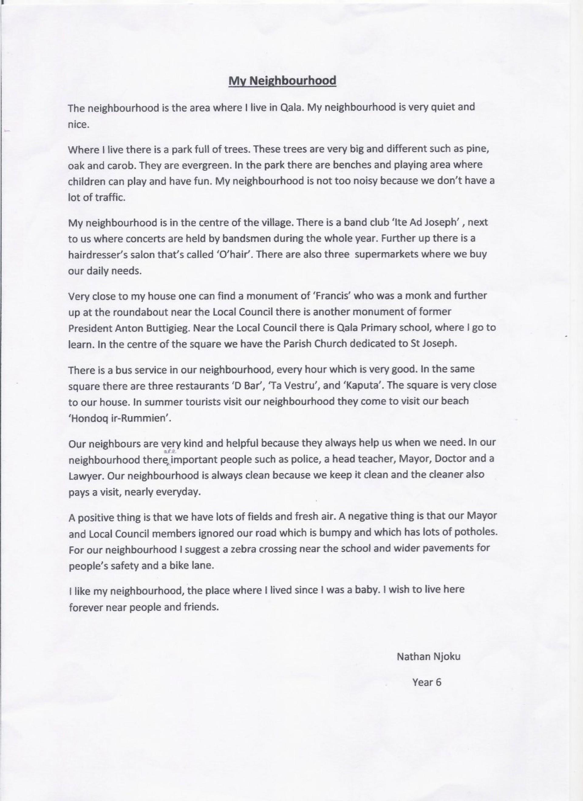 school essay on my neighbourhood