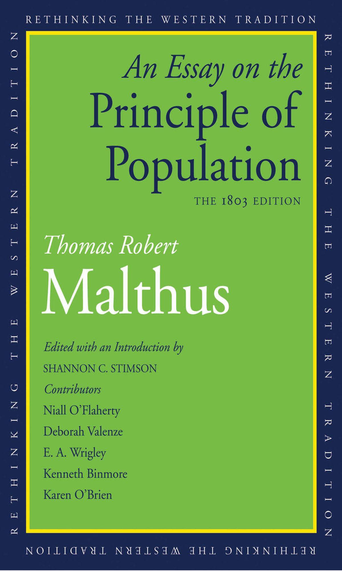 003 Essay On The Principle Of Population Example An Singular Pdf By Thomas Malthus Main Idea Full