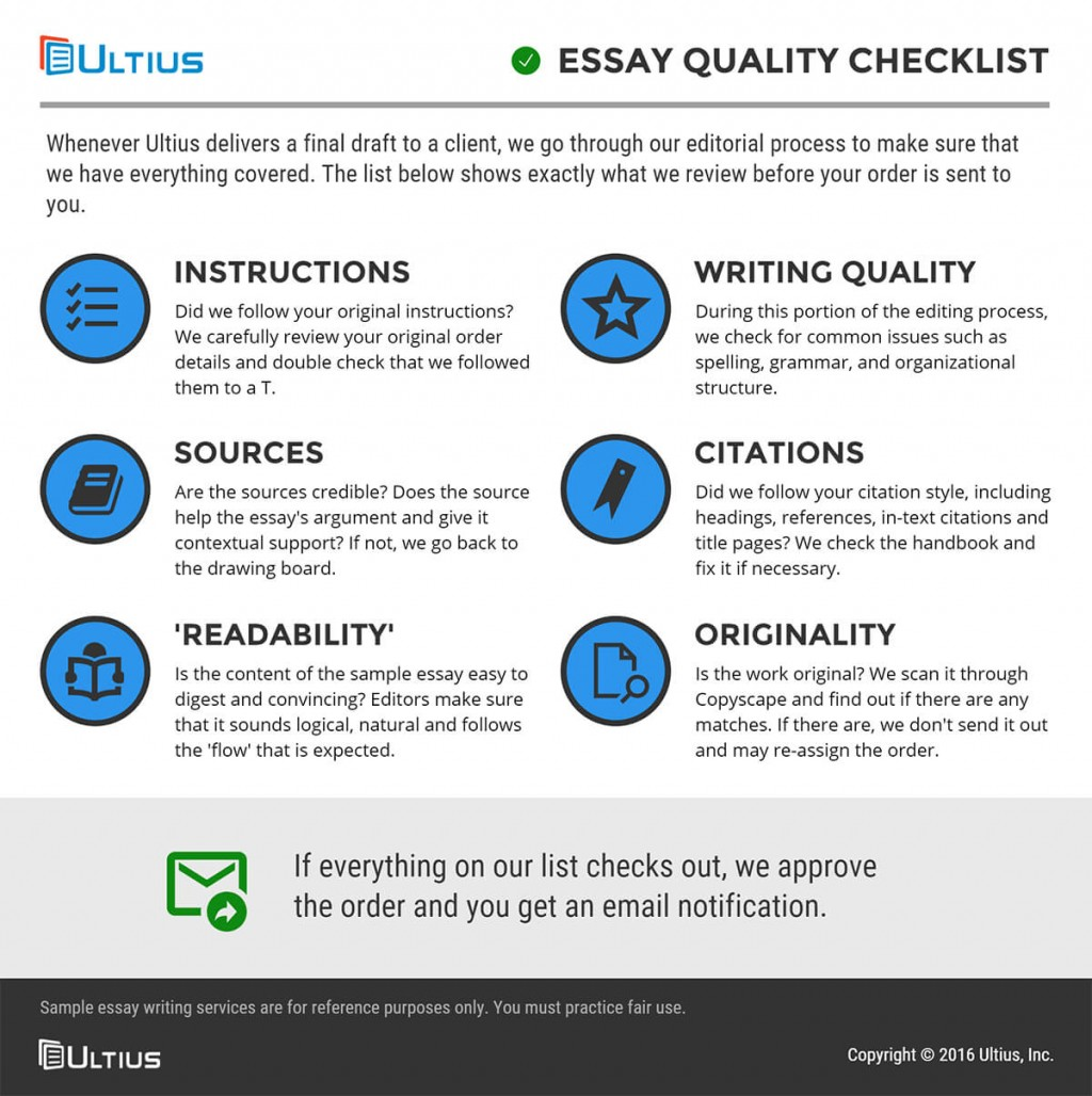 003 Essay Quality Checklist Buy Papers Magnificent Large