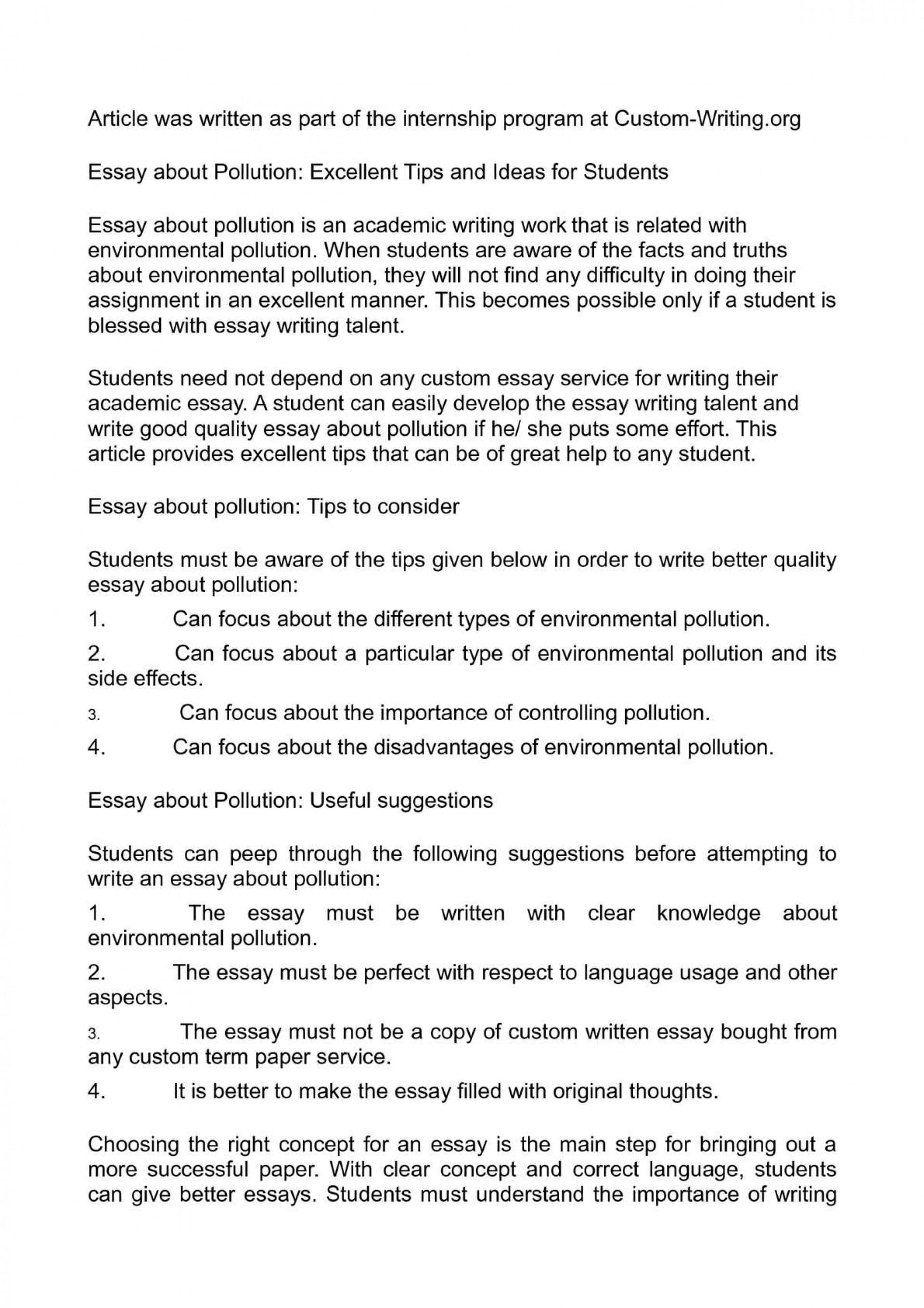 essay writing on pollution in kannada language