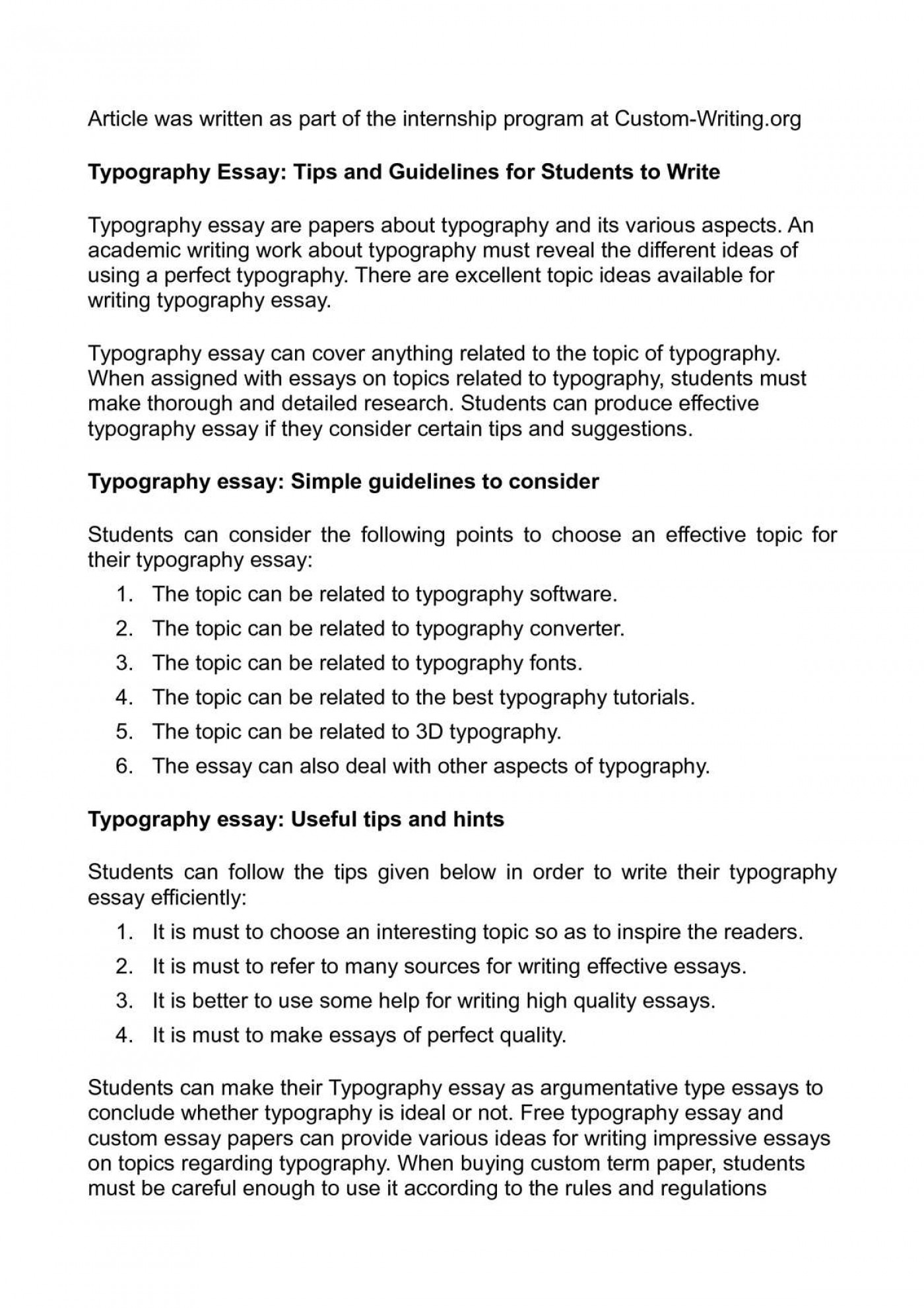 003 Essays On Writing Typography Essay Tips And Guidelines