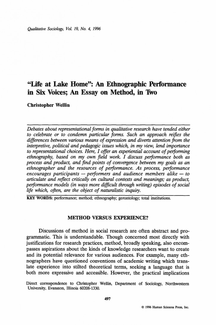 003 Ethnographic Essay Examples Example Profile Interview Of Editable Narrative Paper With Ethnogr Unique Micro Ethnography 728