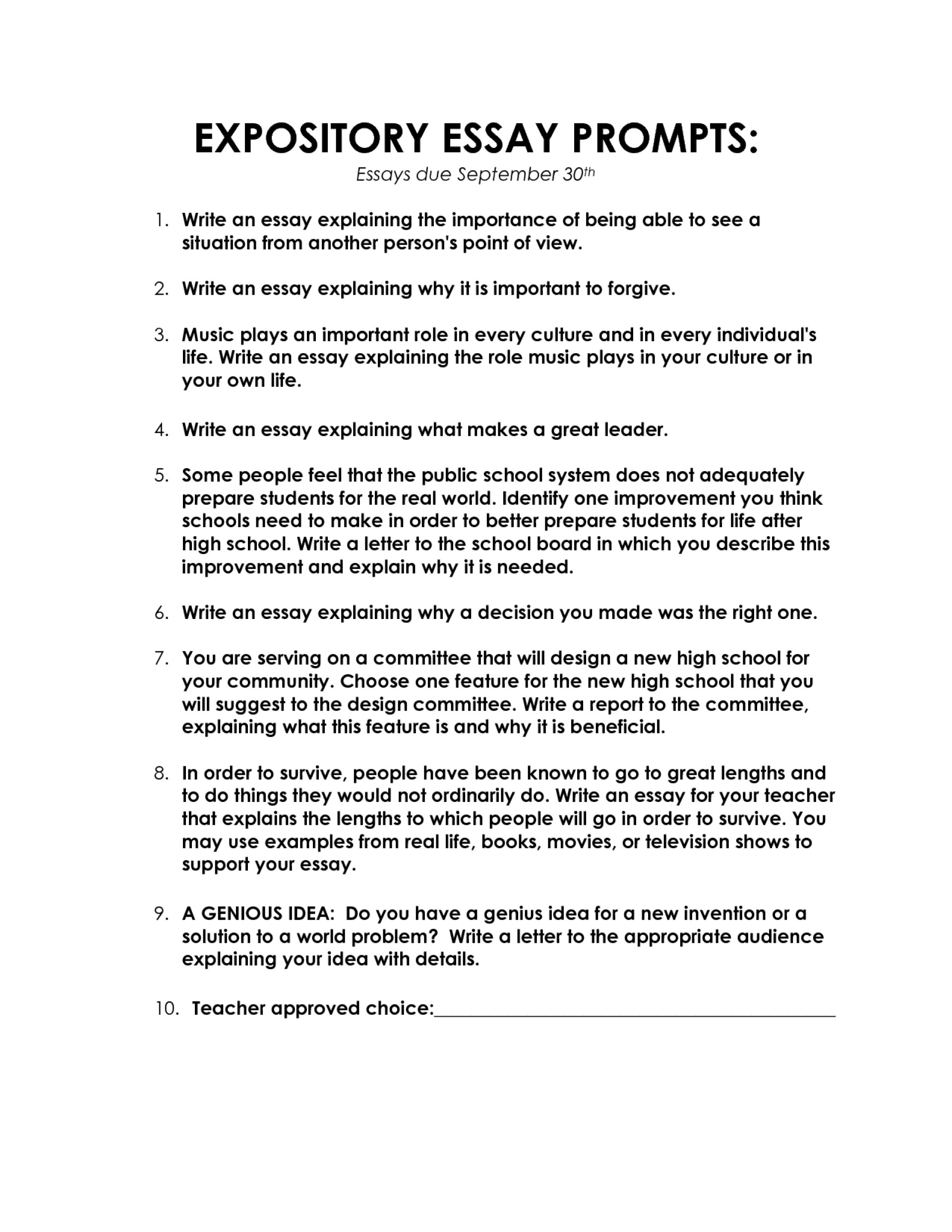 003 Expository Essay Topics Writings And Essays Explanatory For High Rega Things To Help You Write An Awesome 4th Grade Prompt School Prompts 7th 1920