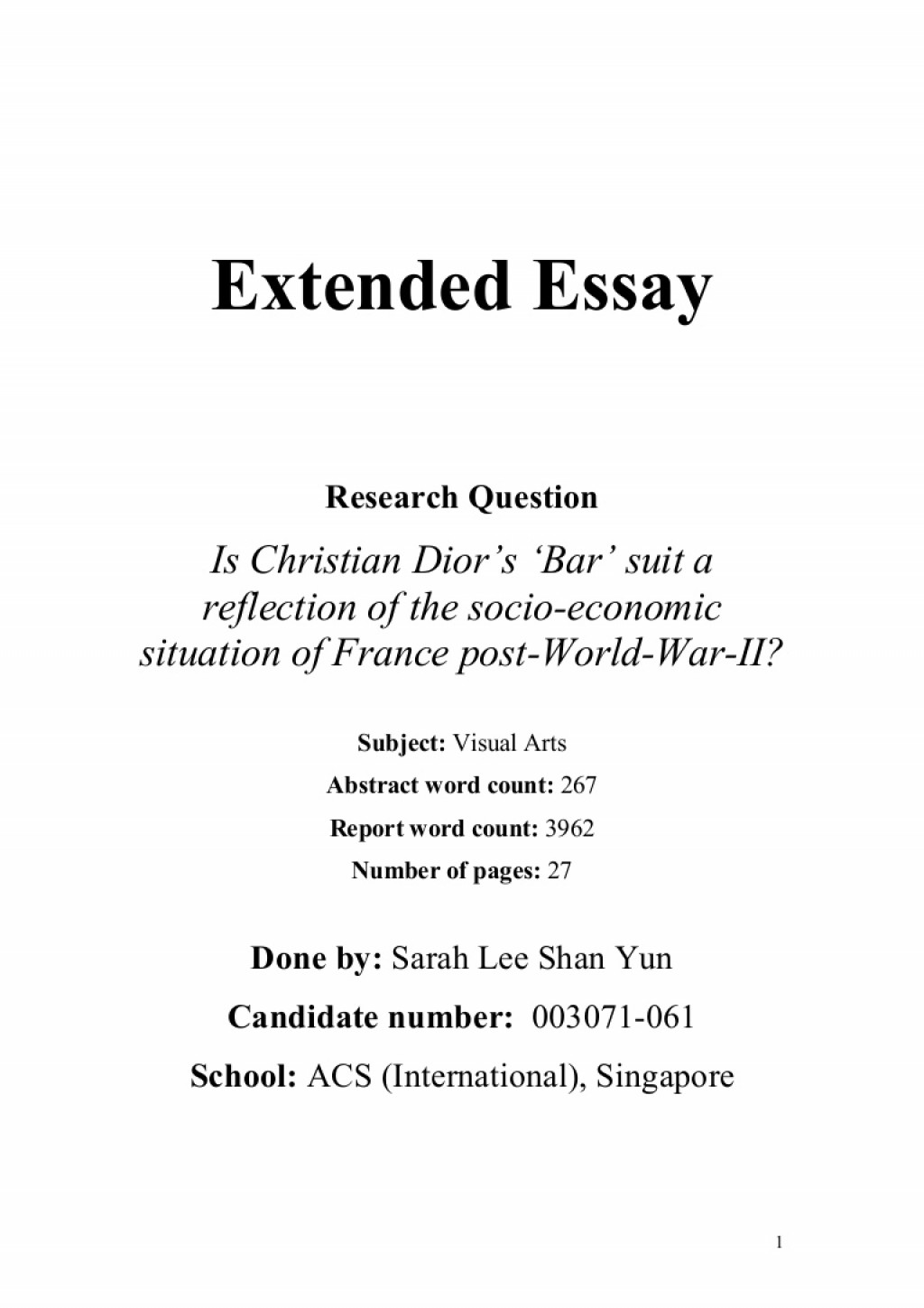 003 Extendedessay Phpapp01 Thumbnail Extended Essay Amazing Outline Examples Word Count Includes Large