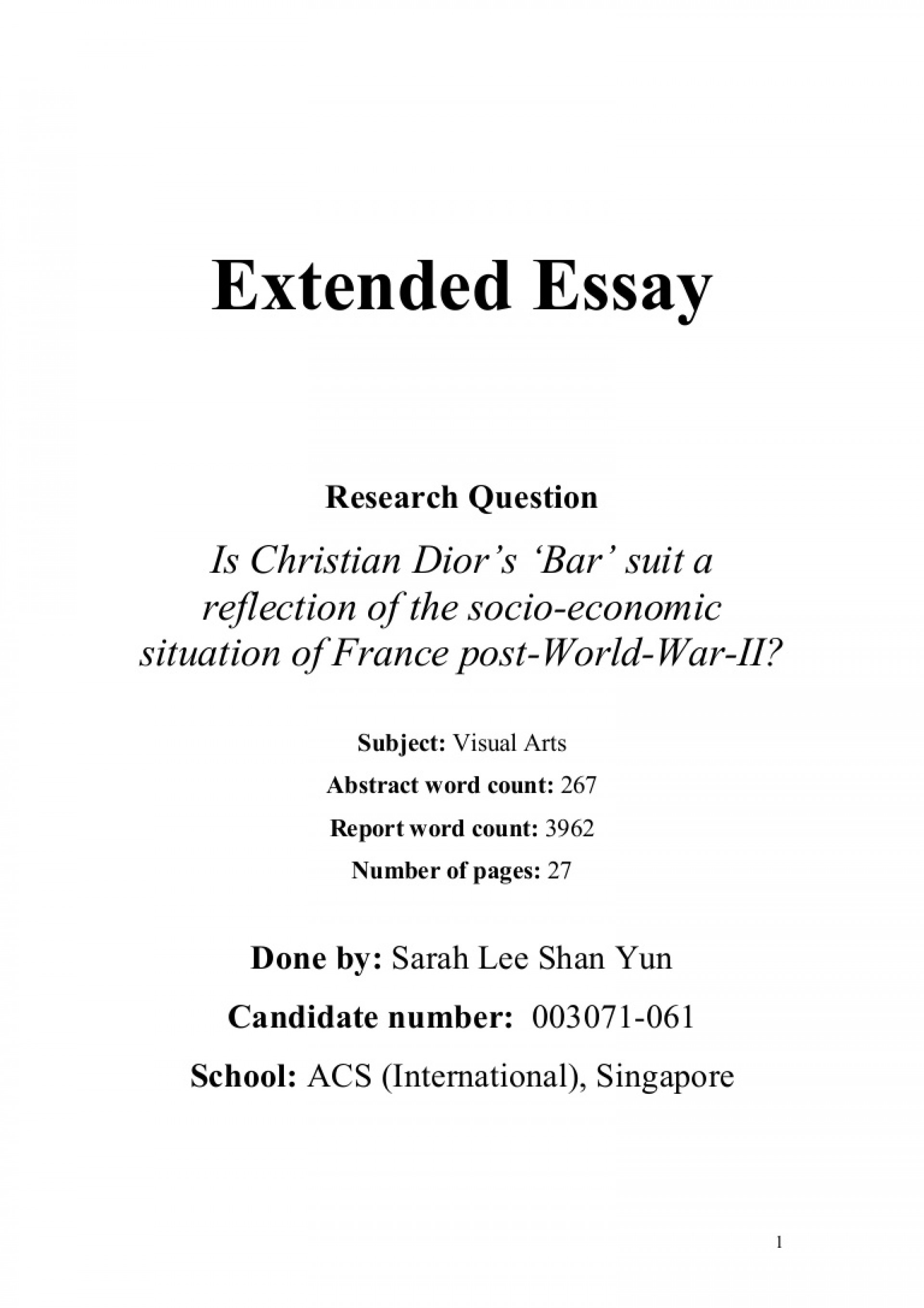 003 Extendedessay Phpapp01 Thumbnail Extended Essay Amazing Outline Examples Word Count Includes 1920