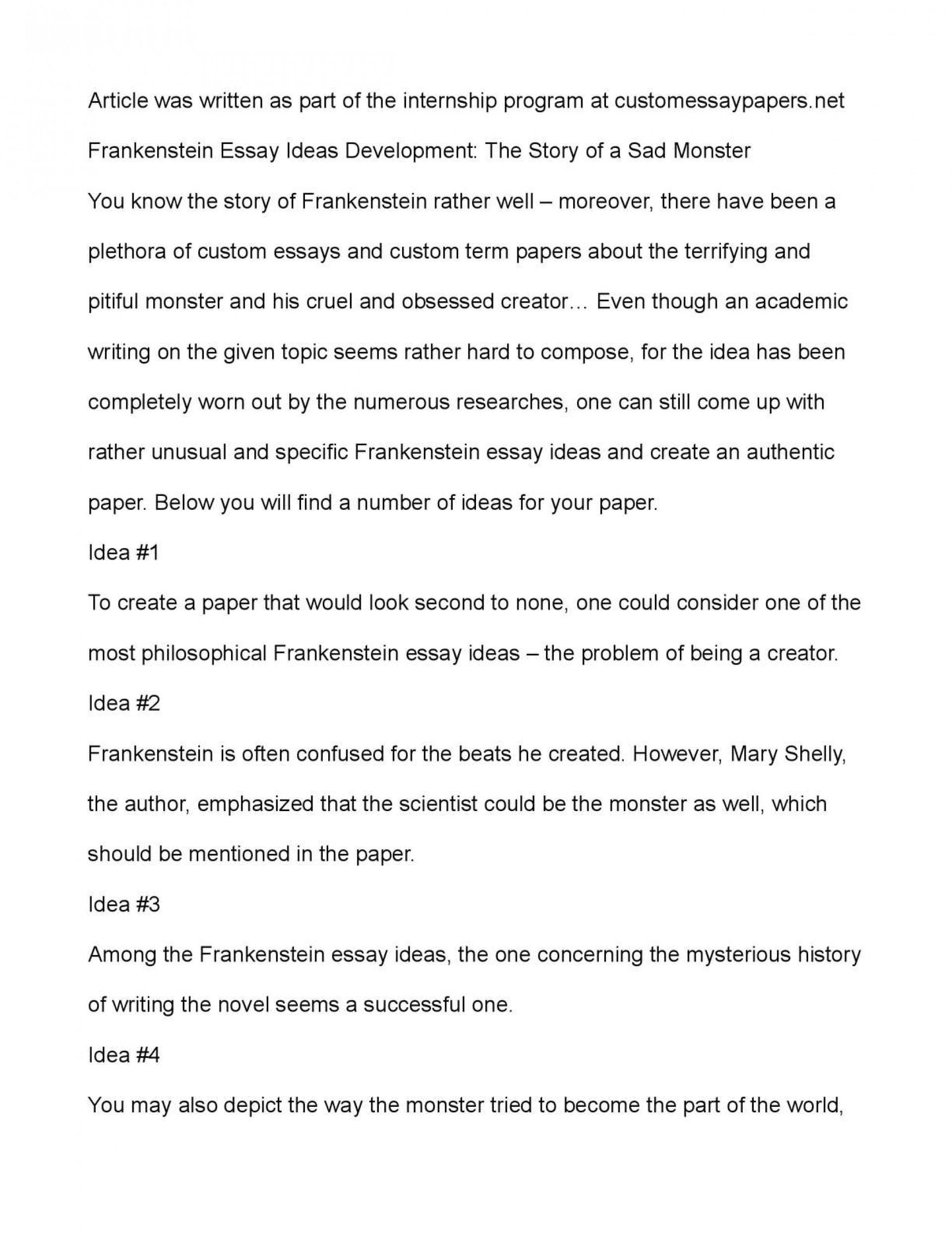 003 Frankenstein Essay Example Breathtaking Prompts Argumentative Topics 1920