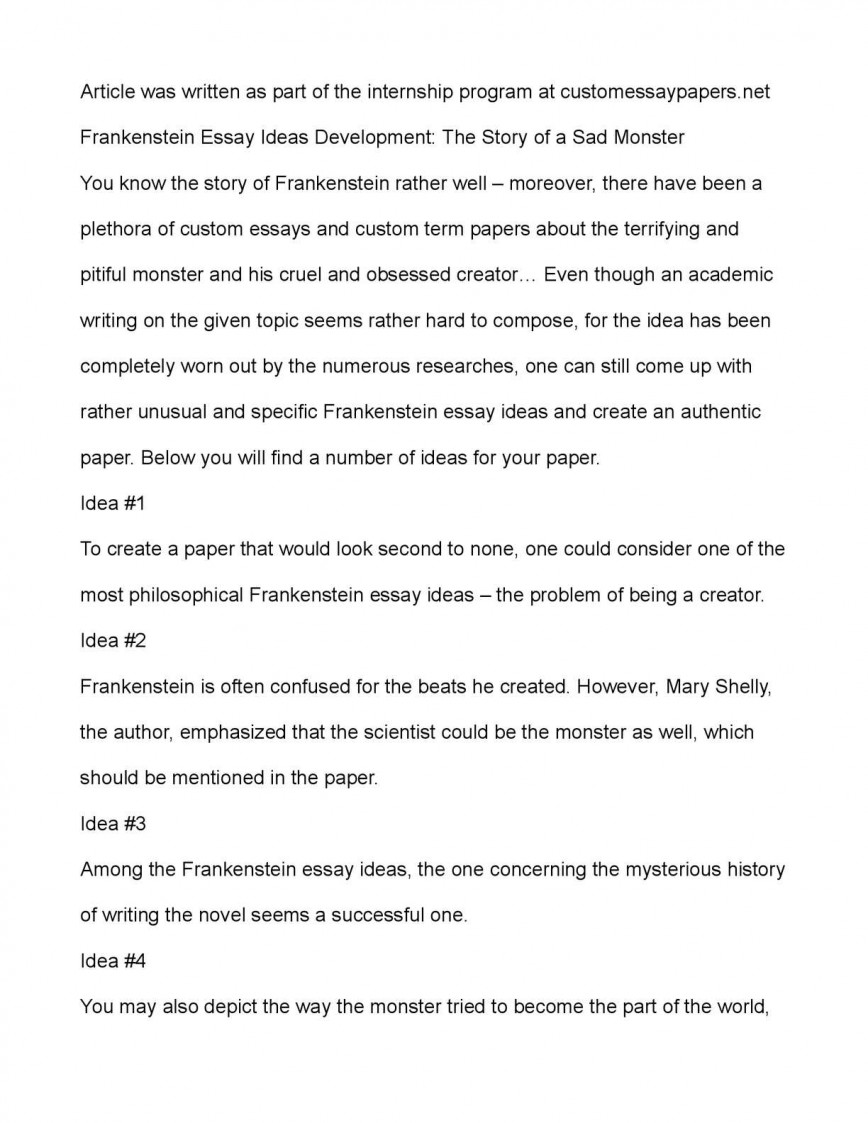 003 Frankenstein Essay Example Breathtaking Prompts Questions Gcse A Level