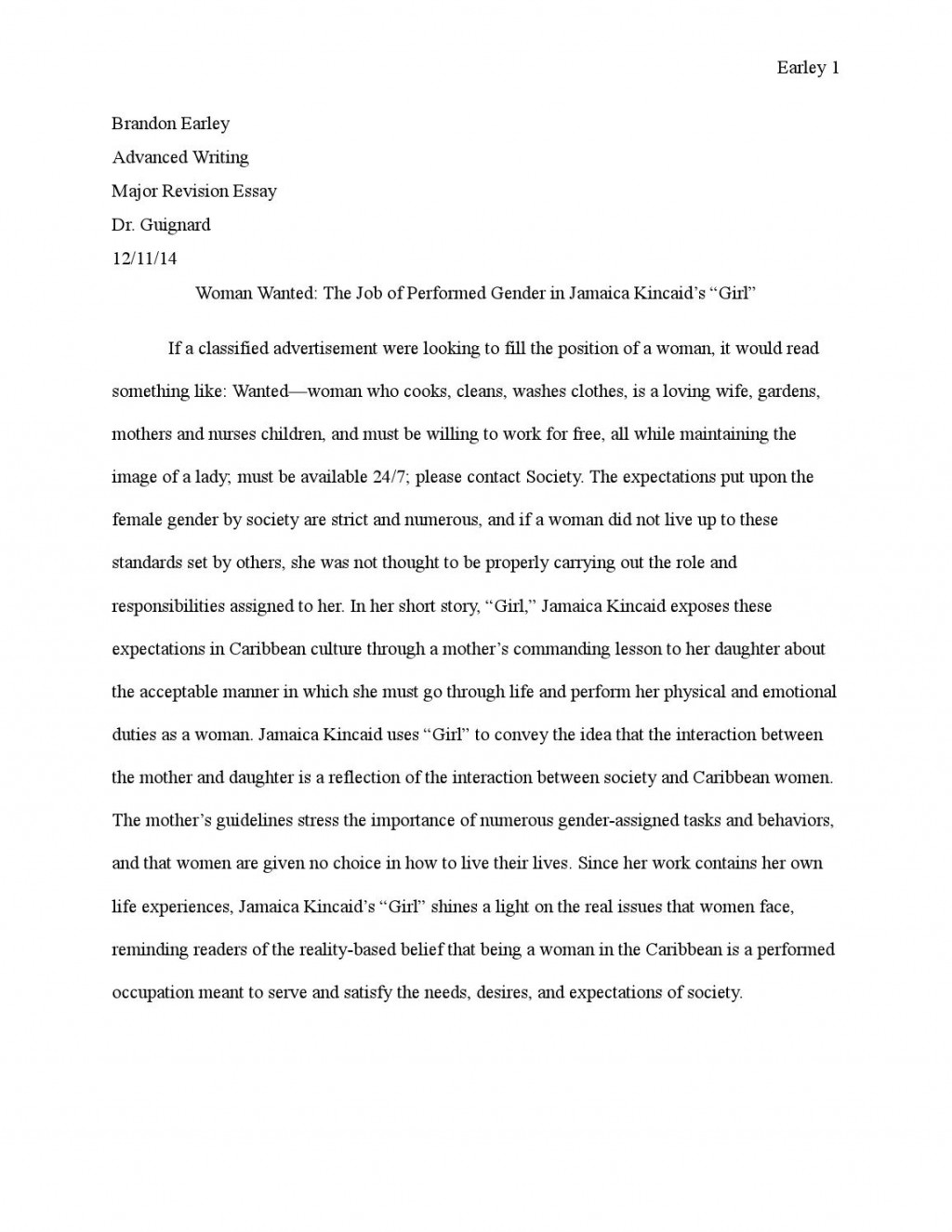 003 Girl By Jamaica Kincaid Essay Example Page 1 Marvelous Large