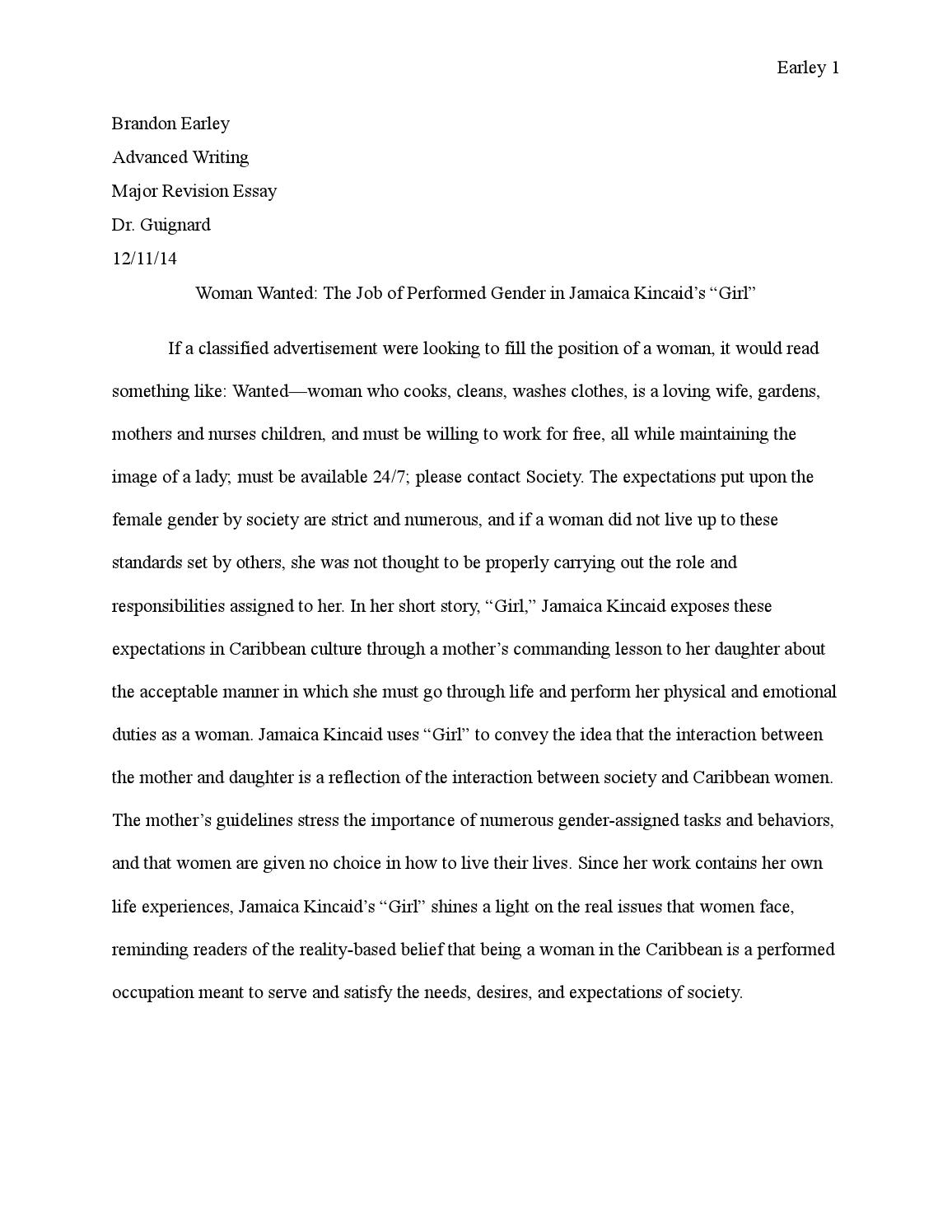 003 Girl By Jamaica Kincaid Essay Example Page 1 Marvelous Full