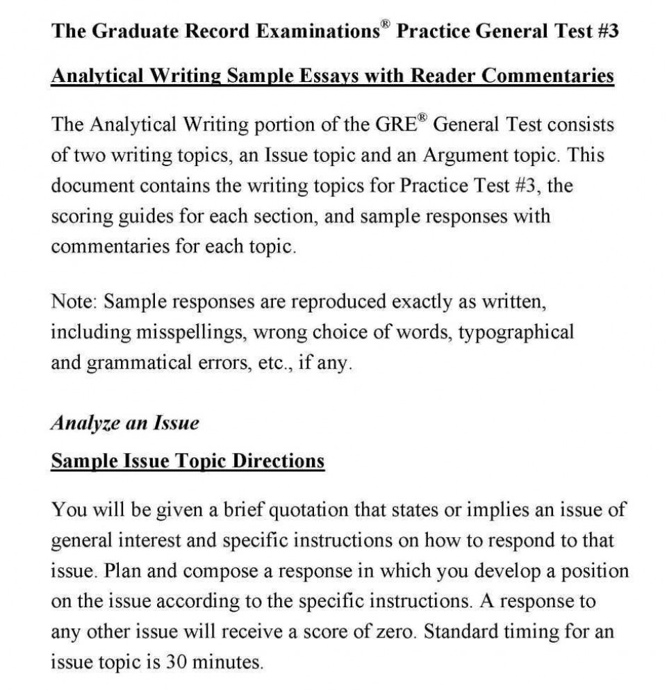 003 Gre Essay Analytical Writing Samples Remarkable Topics Pdf Grader Issue Pool Solutions 960
