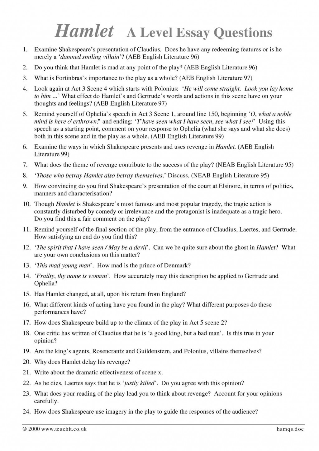 003 Hamlet Essay Topics Example X365 Php Pagespeed Ic Ybemptf Bb Rare High School And Answers Ap Literature Prompt Large