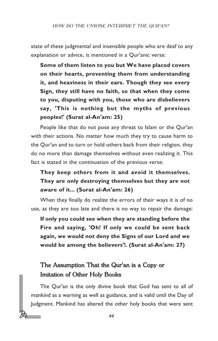 003 Harun Yahya Islam How Do The Unwise Interpret Quran Essay Stupendous Questions In Urdu Topics