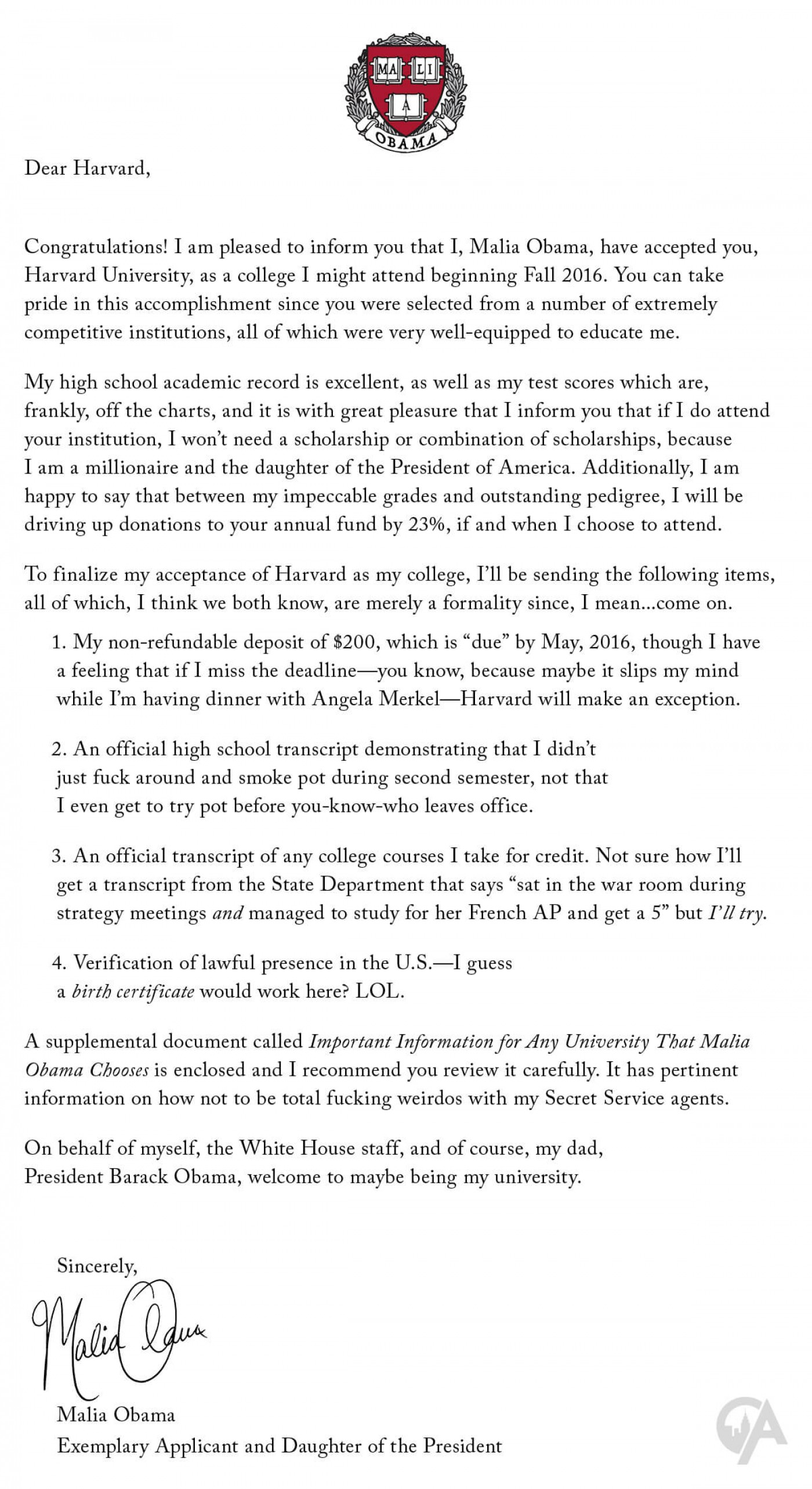 003 Harvard Acceptance Essays Essay Example Malia Obama Sends Letter To Maliaobamasacceptancelettertoha College Application That Were Frightening 50 Successful Pdf Free 2017 3rd Edition 1400