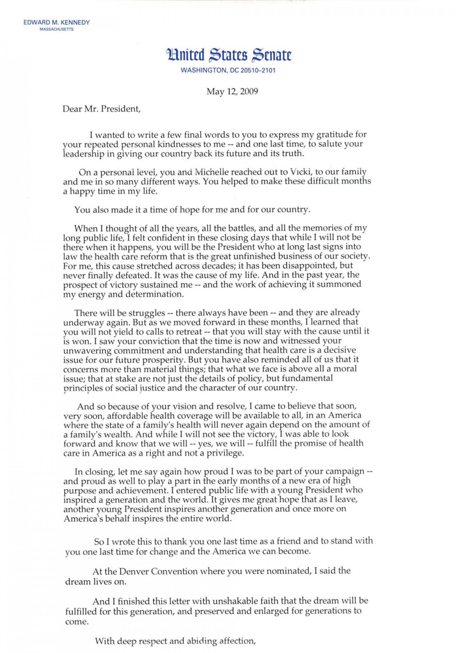 003 Health Care Essay Example Ted Kennedy Healthcare Letter Impressive Universal Introduction Assignment Cost Access And Quality In English 1920