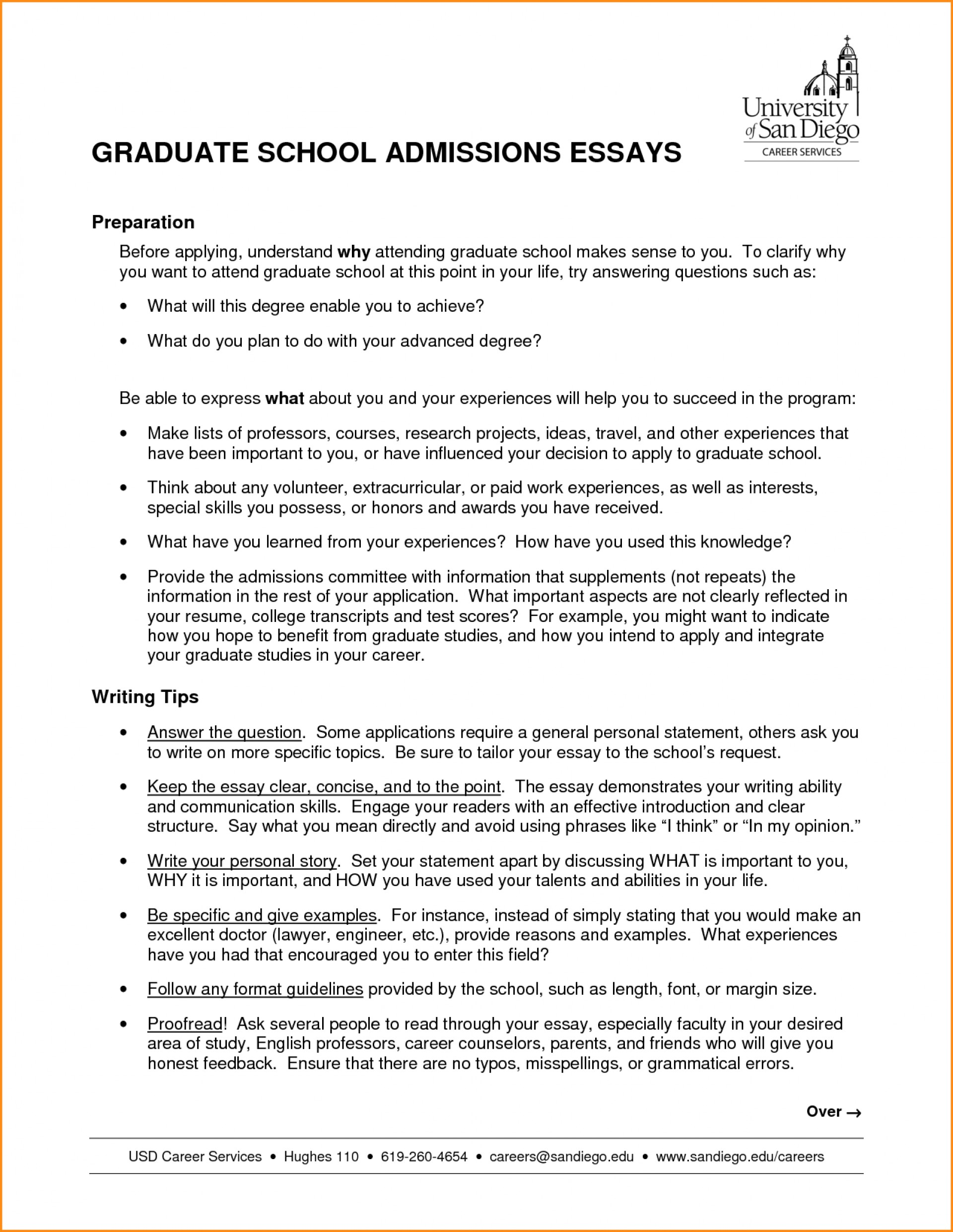 Graduate School Essay Counseling Degree