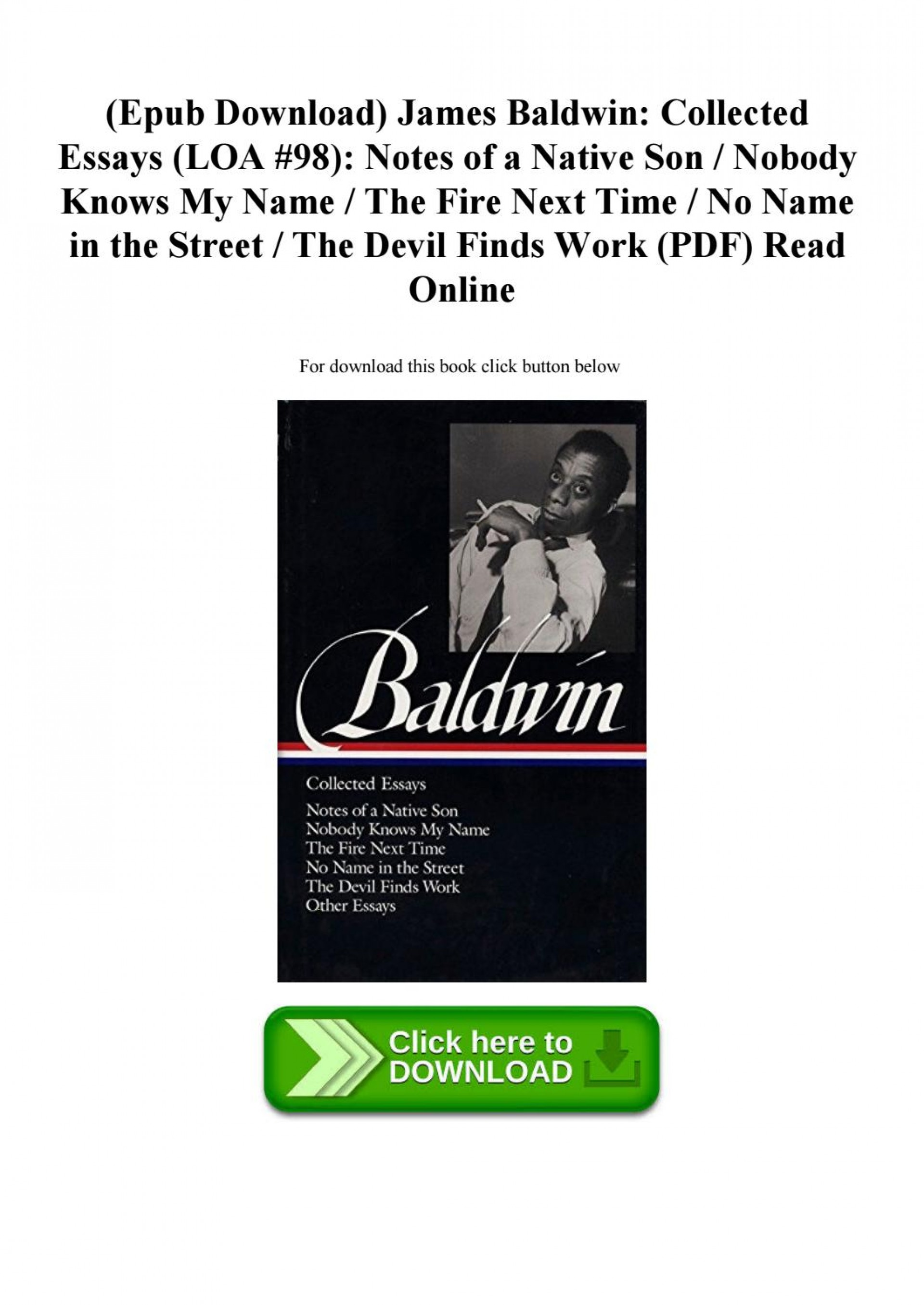 003 James Baldwin Collected Essays Essay Example Page 1 Wondrous Google Books Pdf Table Of Contents 1920