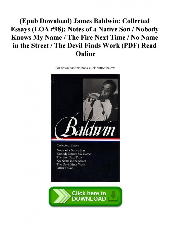 003 James Baldwin Collected Essays Essay Example Page 1 Wondrous Pdf Citation