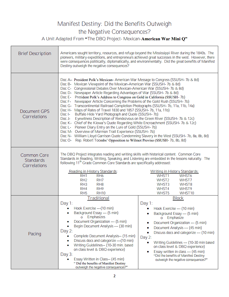 003 Manifest Destiny Essay Example Impressive Prompt Outline Introduction Full