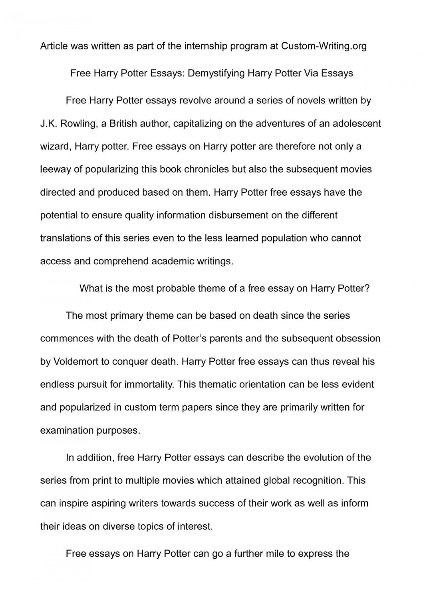 001 Essay Example 008014801 1 Harry ~ Thatsnotus