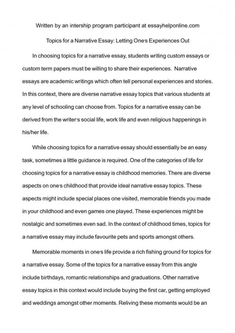 003 P1 Essay Example Narrative Impressive Topics For Esl Students High School Pdf 480
