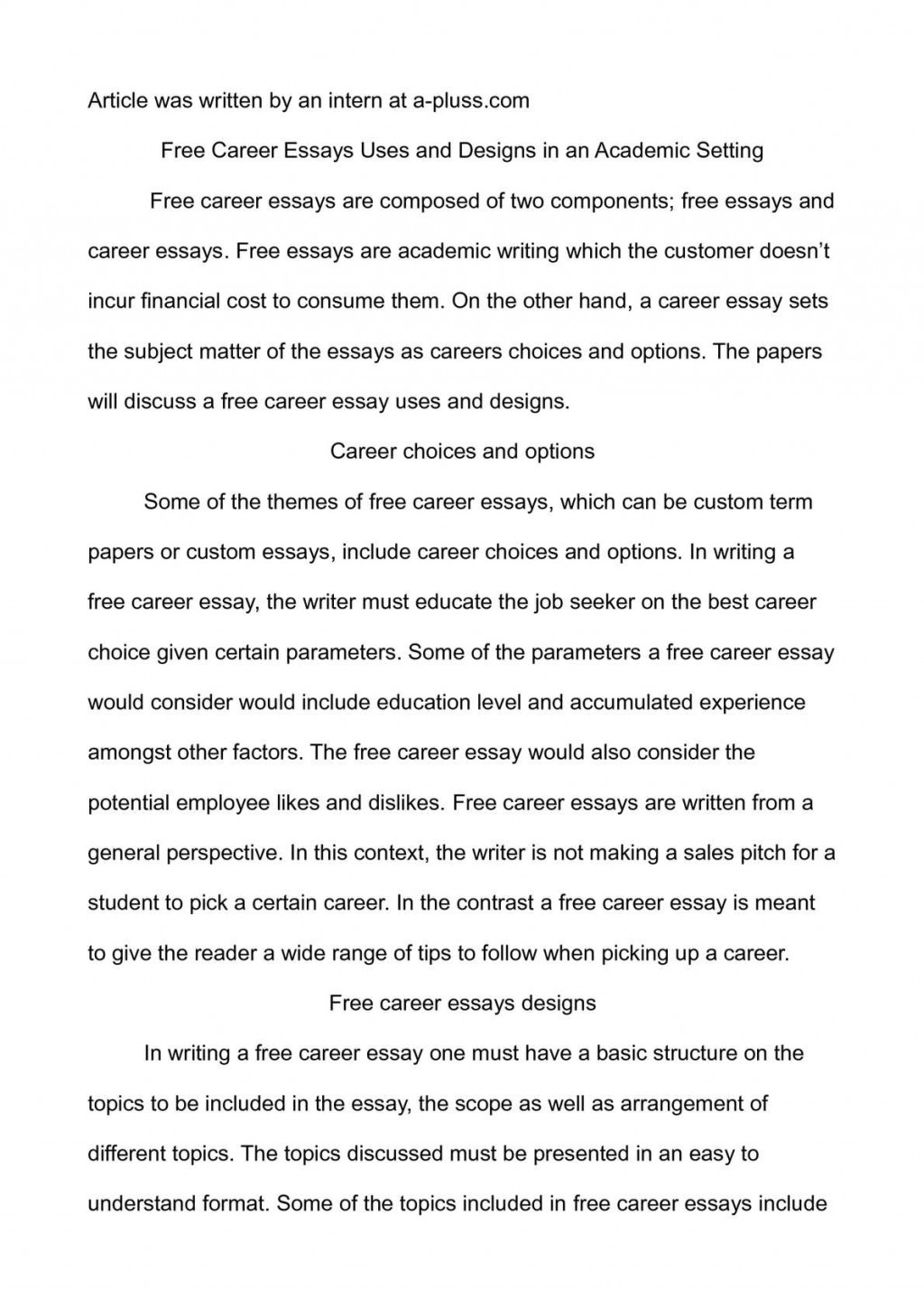 003 P1 Essay Example On Breathtaking Career Goals And Aspirations Sample Choosing A Path Large