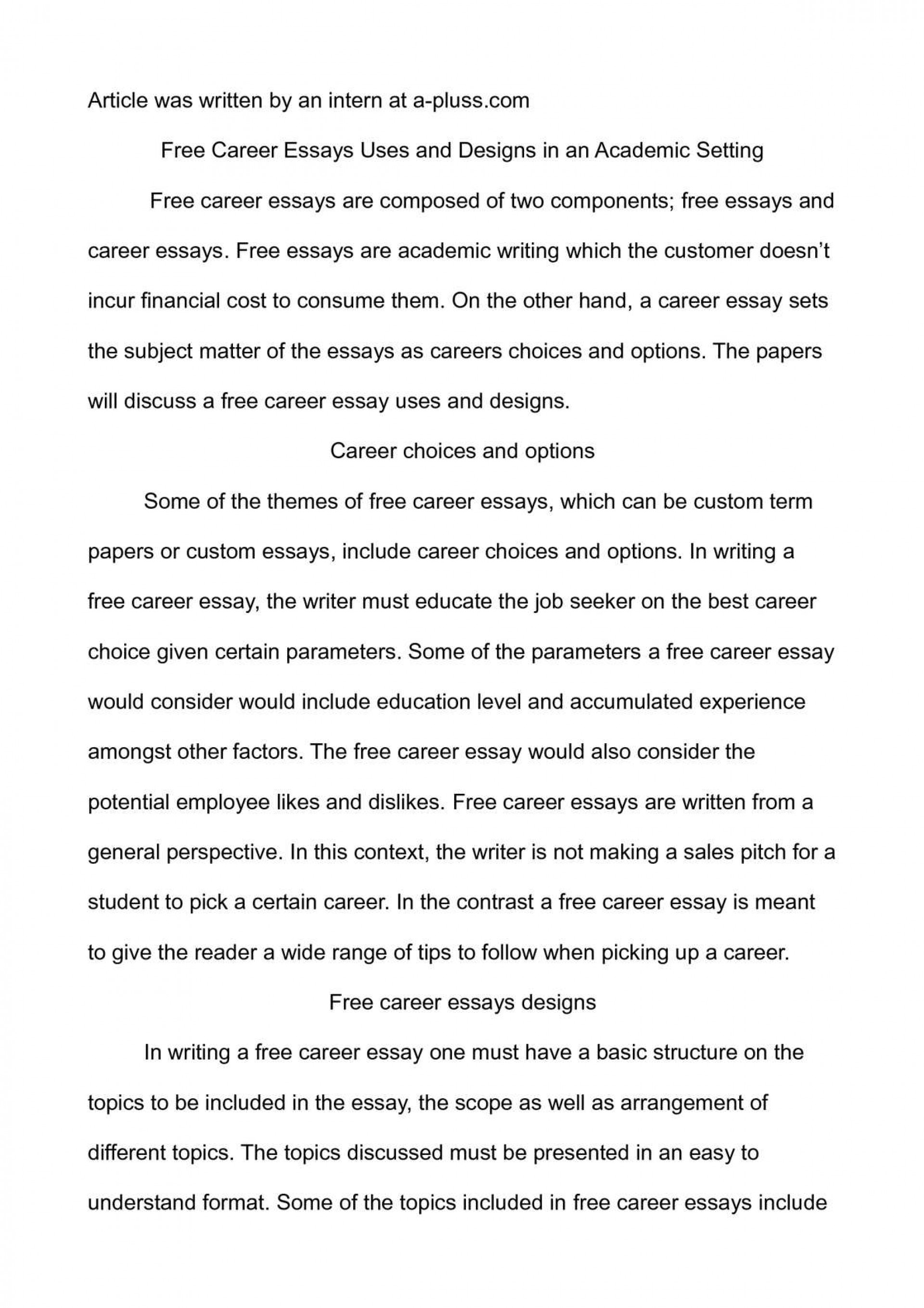 003 P1 Essay Example On Breathtaking Career Goals And Aspirations Sample Choosing A Path 1920