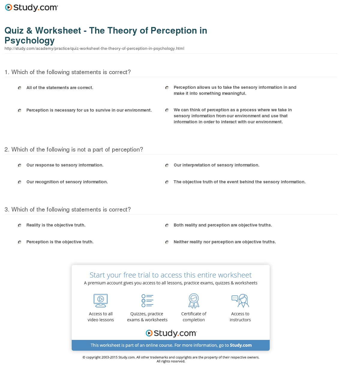 003 Perception Essay Quiz Worksheet The Theory Of In Psychology Formidable Questions Vs Reality Topics Sensation And Full