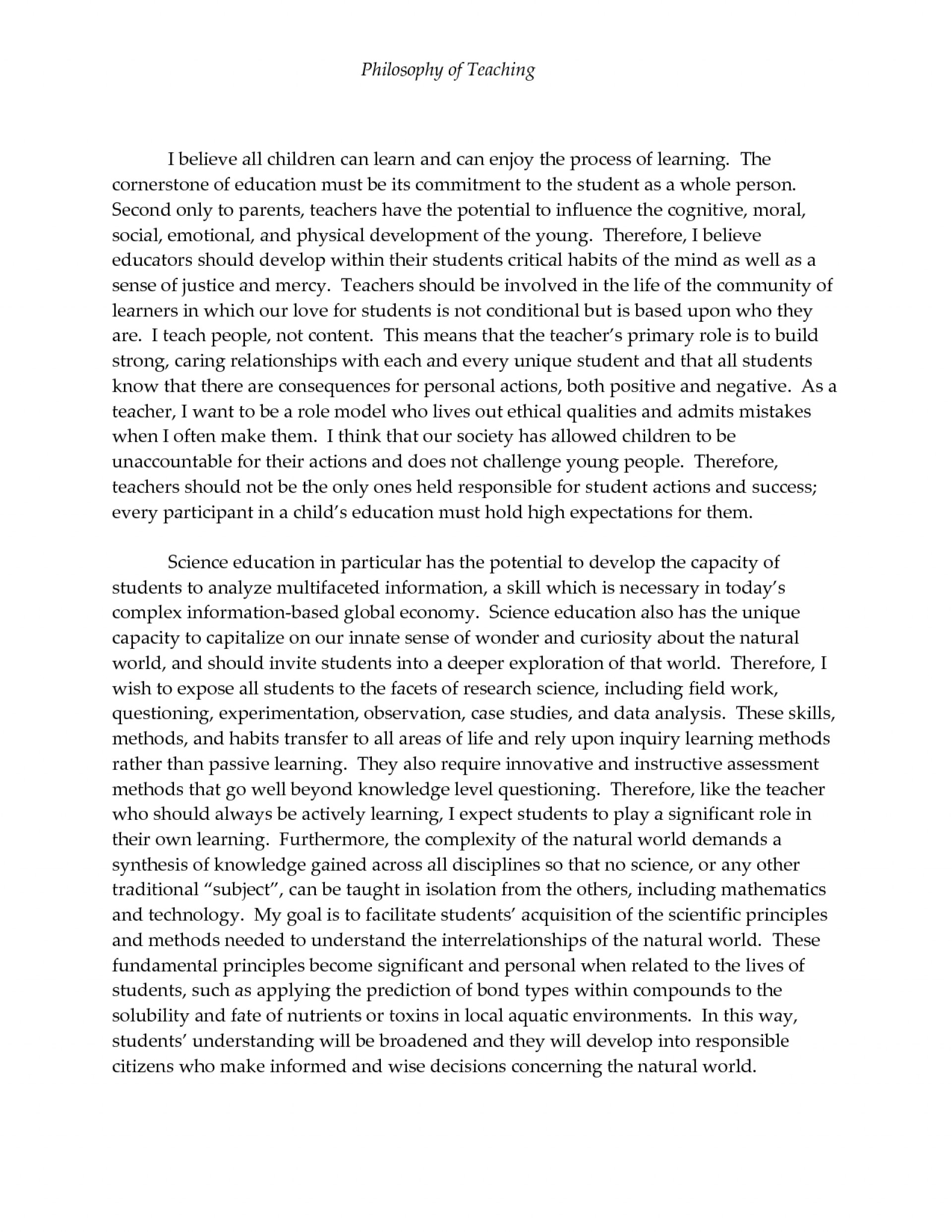 003 Philosophy Of Teaching Essay Dreaded My Personal And Learning Education Pdf 1920