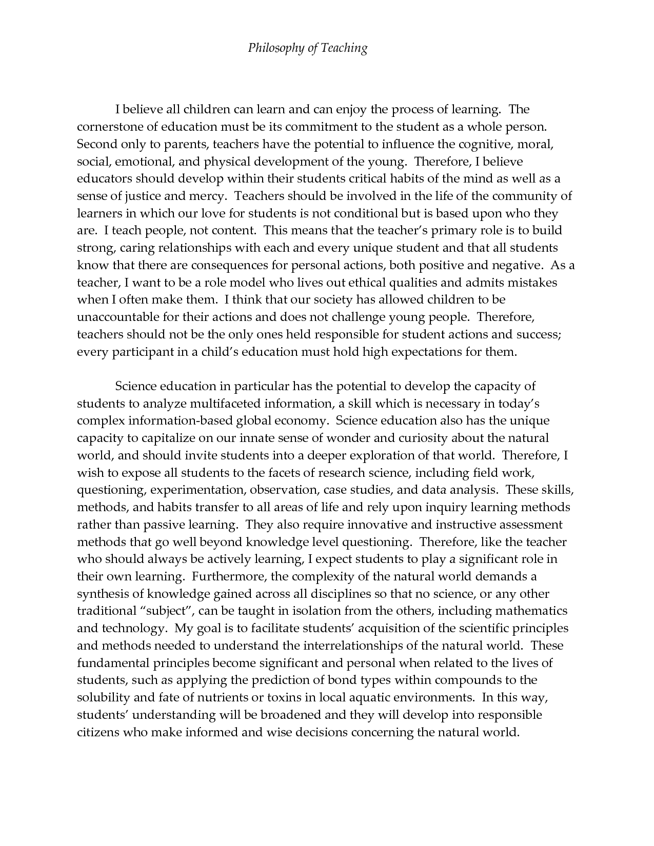 003 Philosophy Of Teaching Essay Dreaded My Personal And Learning Education Pdf Full