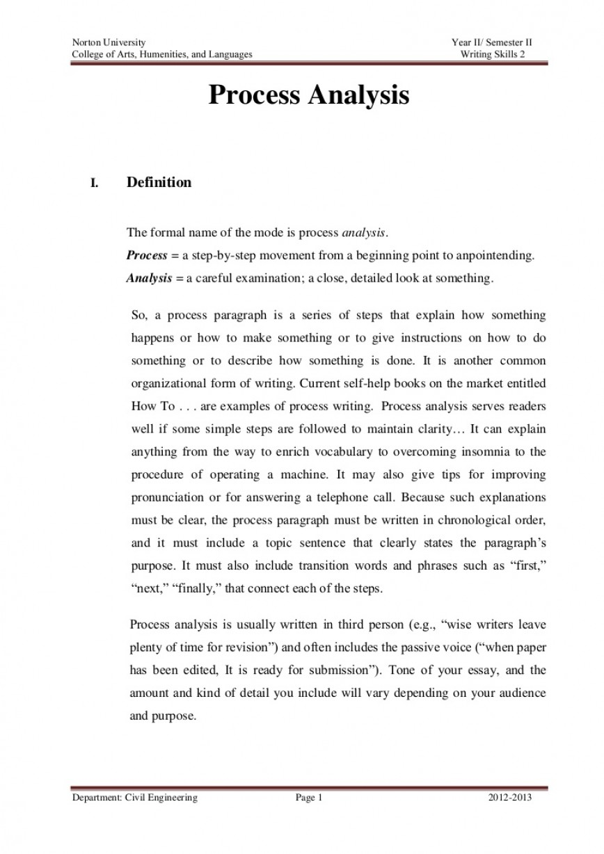 003 Processanalysisparagraph Phpapp01 Thumbnail What Is Process Essay Unusual A Directional Analysis