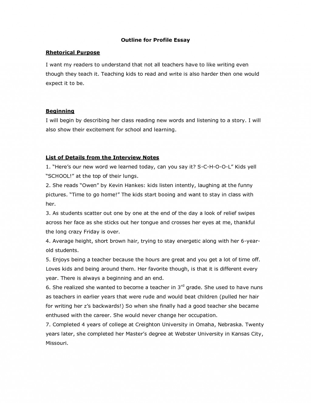 003 Profile Essay Outline Example Personality Topics Examples Of Big Five Samples My Singular Layout Paper Large