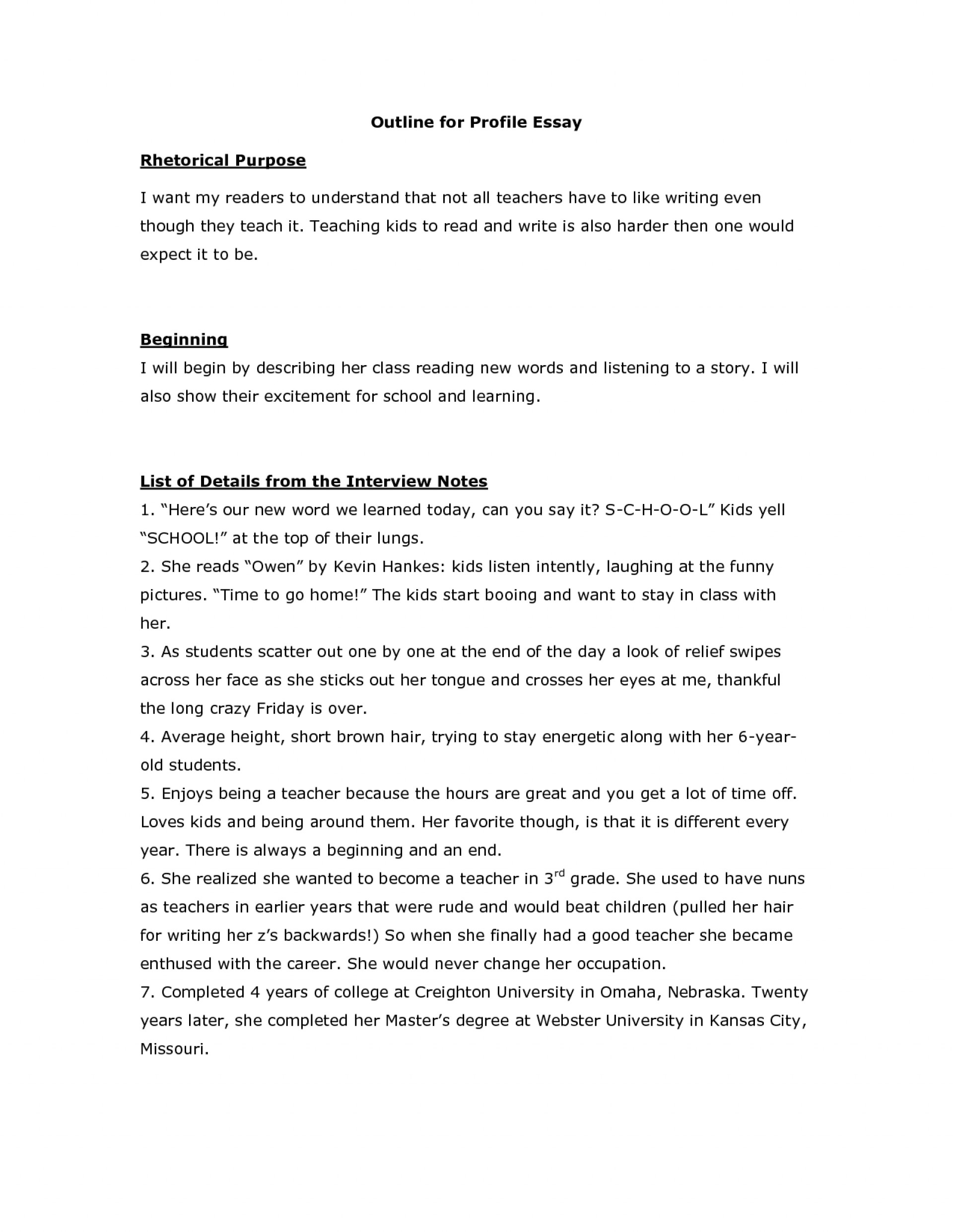 003 Profile Essay Outline Example Personality Topics Examples Of Big Five Samples My Singular Layout Paper 1920