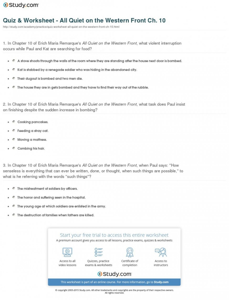 003 Quiz Worksheet All Quiet On The Western Front Ch Essays Compare And Contrast Essay Writing Help Buy Your20 1024x1342 Frightening Questions Topics 960