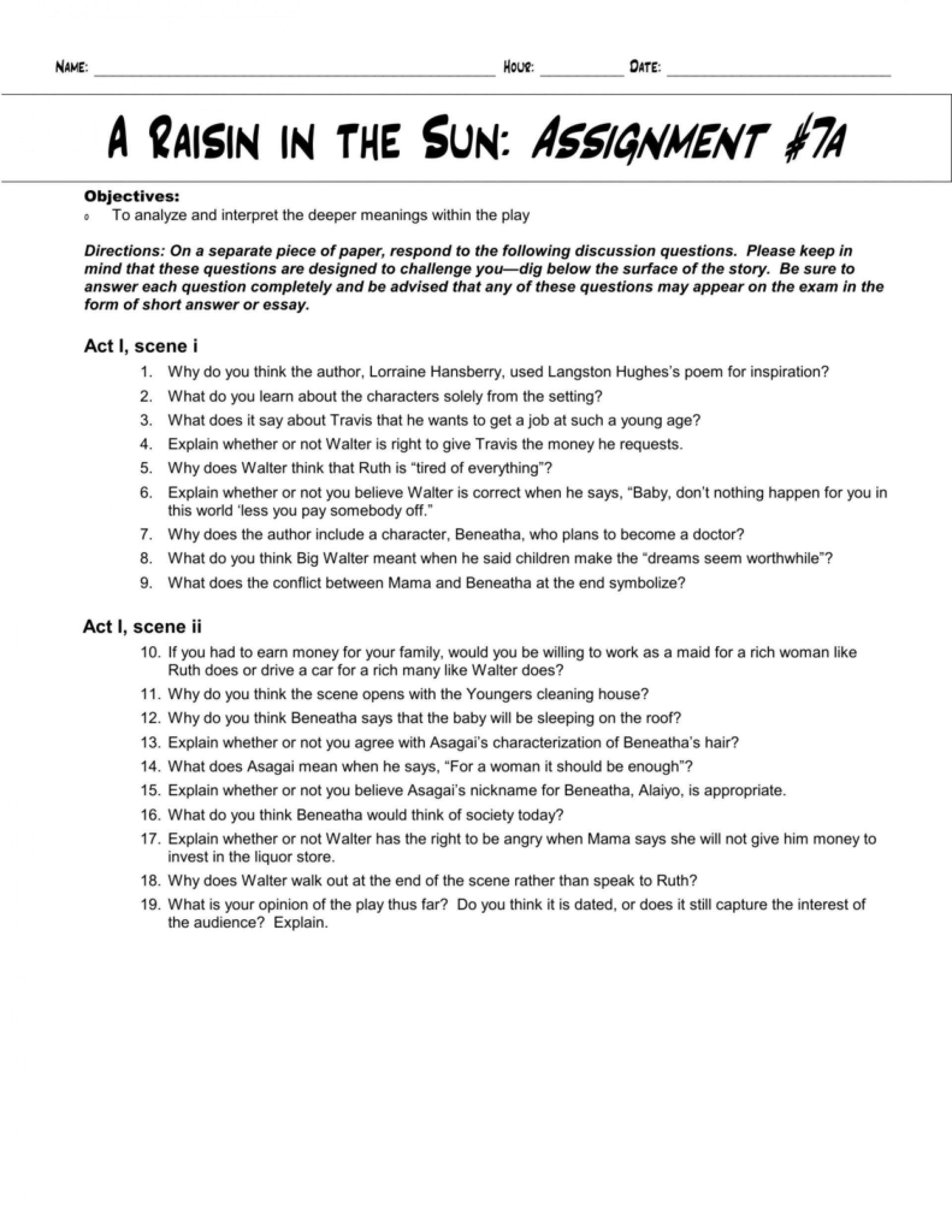 003 Raisin In The Sun Themes Essay 008718600 1 Beautiful A Theme Analysis 1920