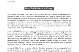 003 Reflection Essay Example Sergio Finalself Reflectionessay Phpapp01 Thumbnail Formidable Self Rubric Paper Outline Template Reflective Writing Format