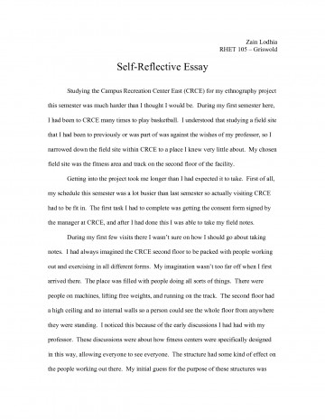 003 Reflective Essay Format Qal0pwnf46 Phenomenal Self Assessment Example Reflection Paper Apa 360