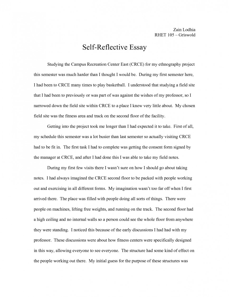 003 Reflective Essay Format Qal0pwnf46 Phenomenal Self Assessment Example Reflection Paper Apa 868