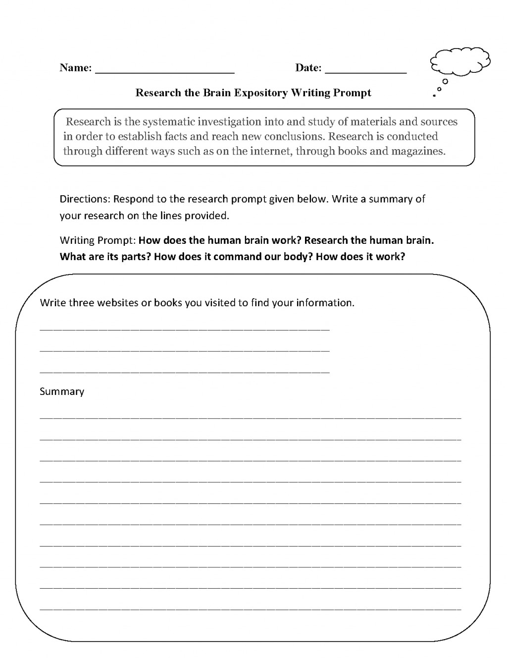 003 Research Brain Expository Writing Prompt Essay Example Formidable Prompts Narrative For Middle School 5 Paragraph 5th Grade Large