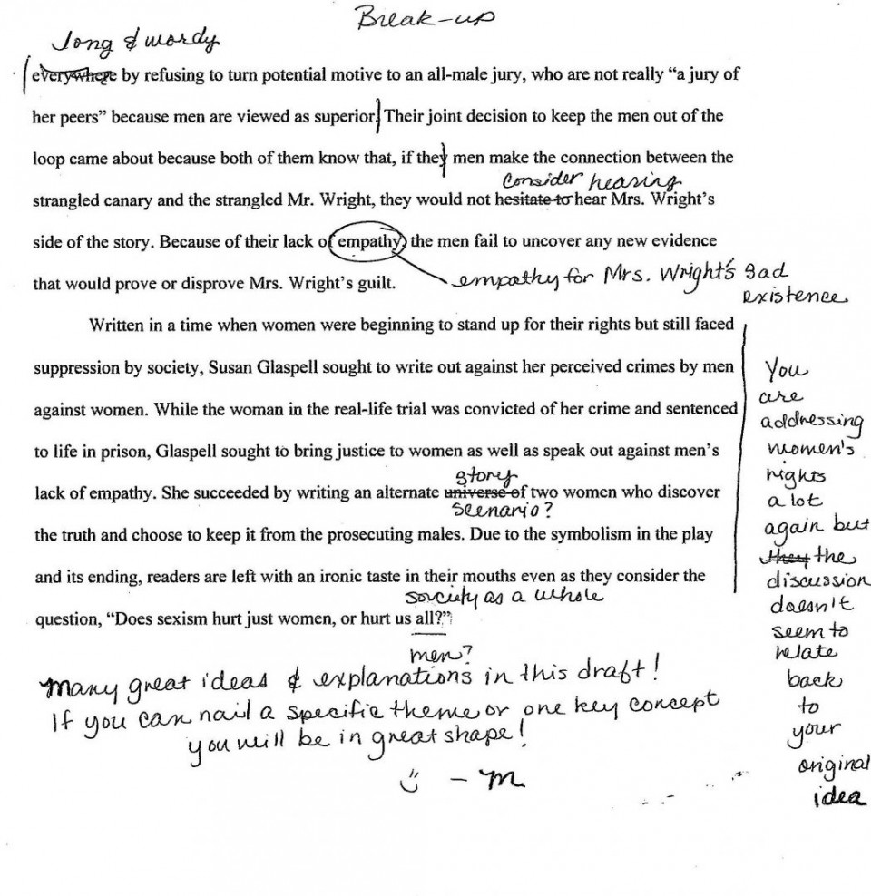 003 Revise Essay Trifles By Susan Glaspell Students Teaching English I College Revision Checklist Plan Service 1048x1079 Formidable Questions Feminism Topics 960