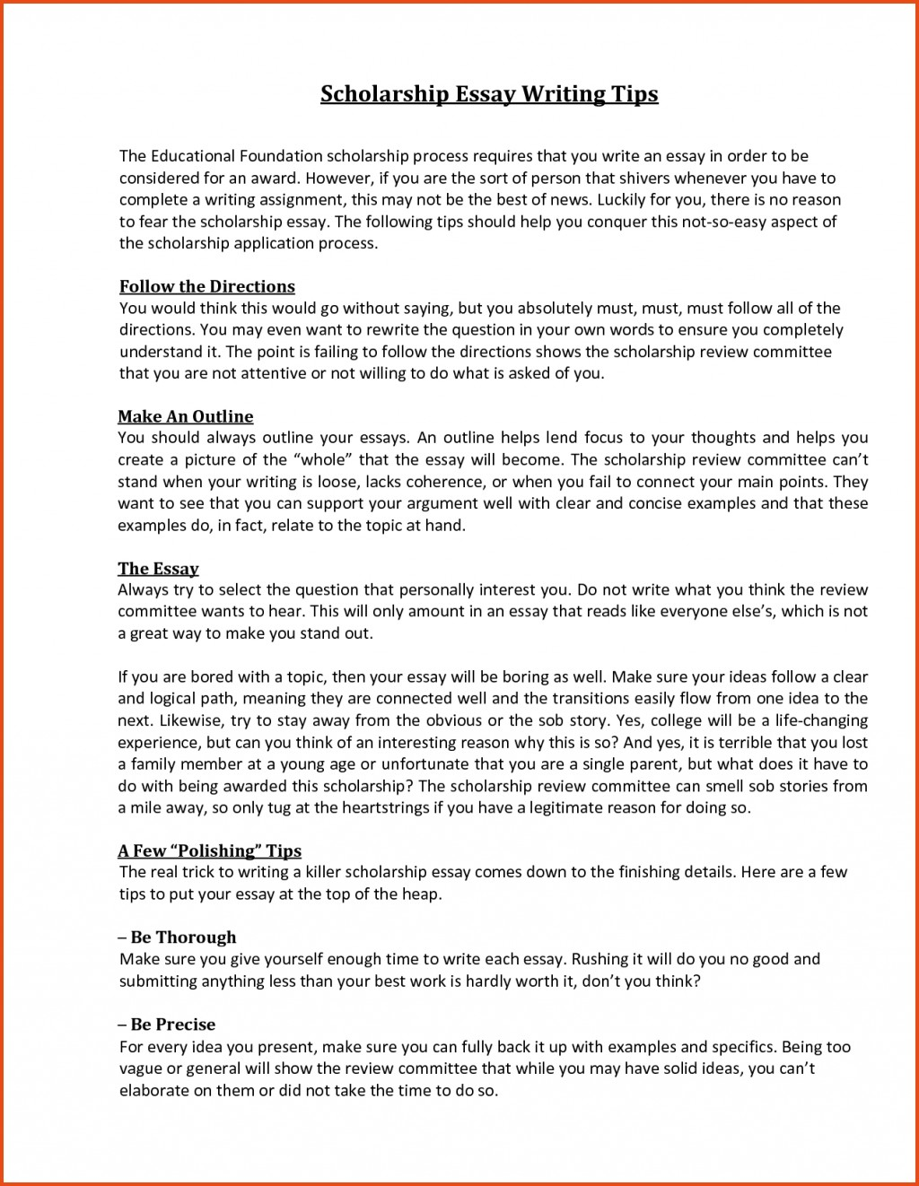 003 Scholarship Essay Format Sample With Regard To Sensational College Essays For Writing Large