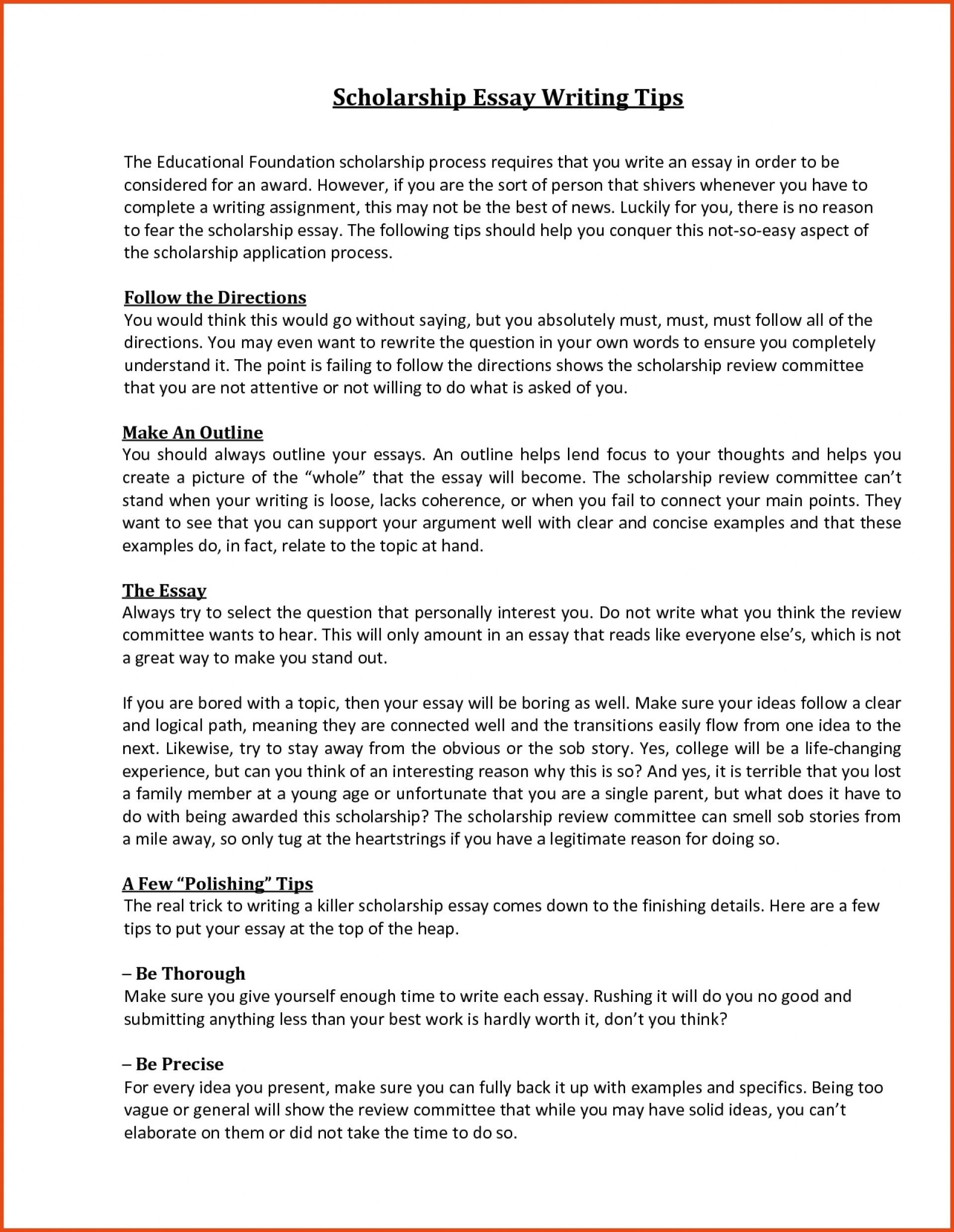 003 Scholarship Essay Format Sample With Regard To Sensational College Essays For Writing 1920